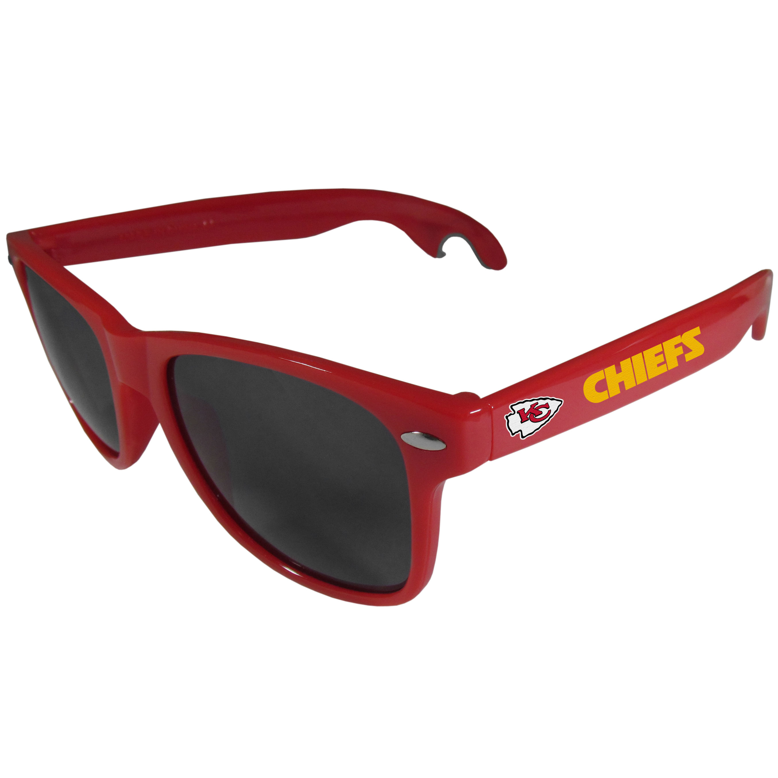 Kansas City Chiefs Beachfarer Bottle Opener Sunglasses, Red - Seriously, these sunglasses open bottles! Keep the party going with these amazing Kansas City Chiefs bottle opener sunglasses. The stylish retro frames feature team designs on the arms and functional bottle openers on the end of the arms. Whether you are at the beach or having a backyard BBQ on game day, these shades will keep your eyes protected with 100% UVA/UVB protection and keep you hydrated with the handy bottle opener arms.