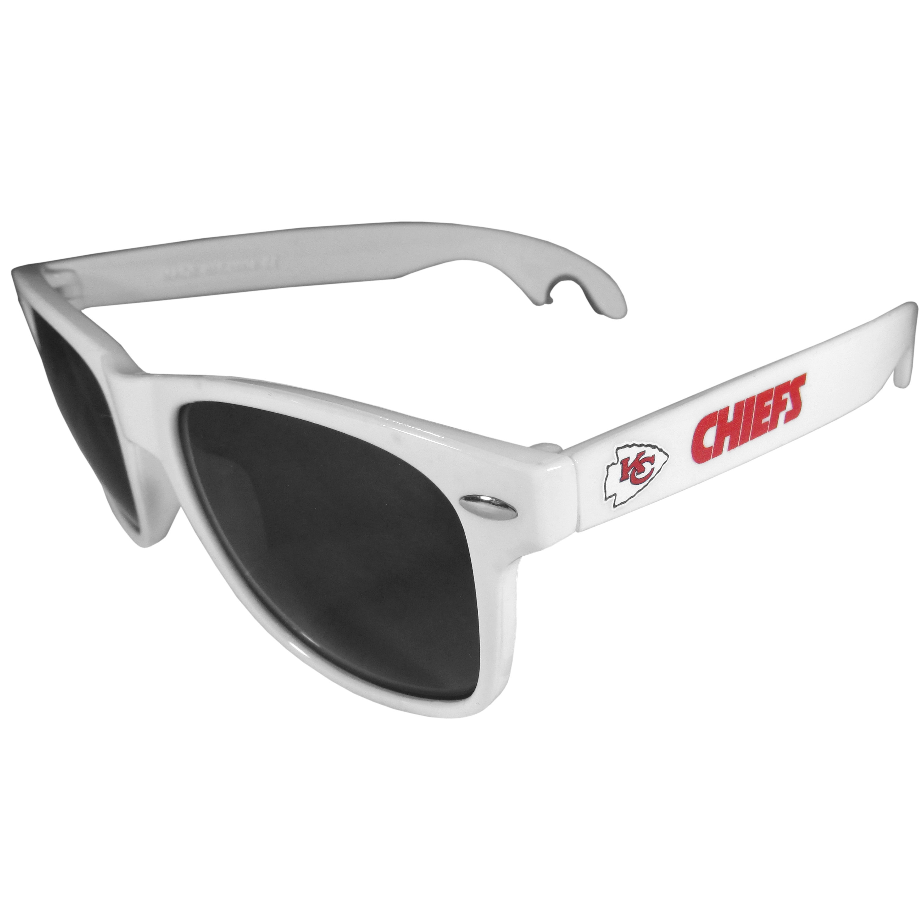 Kansas City Chiefs Beachfarer Bottle Opener Sunglasses, White - Seriously, these sunglasses open bottles! Keep the party going with these amazing Kansas City Chiefs bottle opener sunglasses. The stylish retro frames feature team designs on the arms and functional bottle openers on the end of the arms. Whether you are at the beach or having a backyard BBQ on game day, these shades will keep your eyes protected with 100% UVA/UVB protection and keep you hydrated with the handy bottle opener arms.