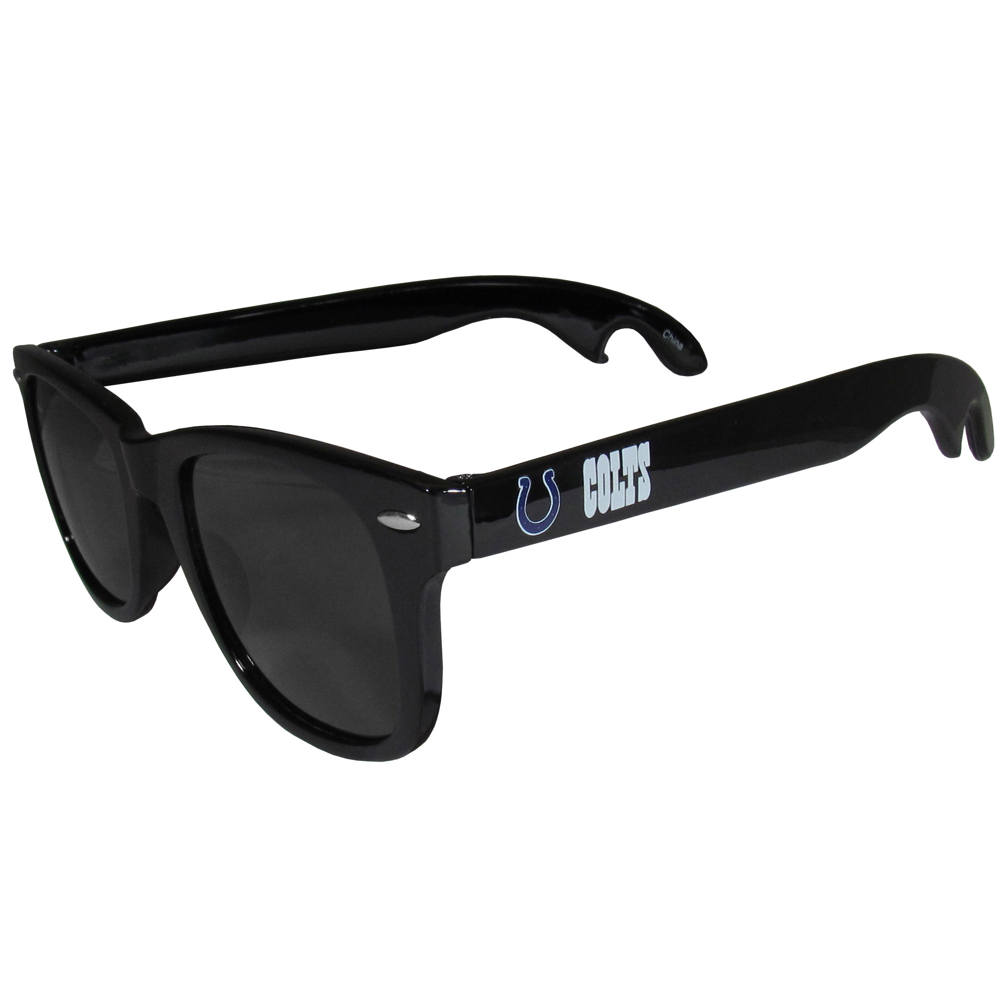 Indianapolis Colts Beachfarer Bottle Opener Sunglasses - Seriously, these sunglasses open bottles! Keep the party going with these amazing Indianapolis Colts bottle opener sunglasses. The stylish retro frames feature team designs on the arms and functional bottle openers on the end of the arms. Whether you are at the beach or having a backyard BBQ on game day, these shades will keep your eyes protected with 100% UVA/UVB protection and keep you hydrated with the handy bottle opener arms.
