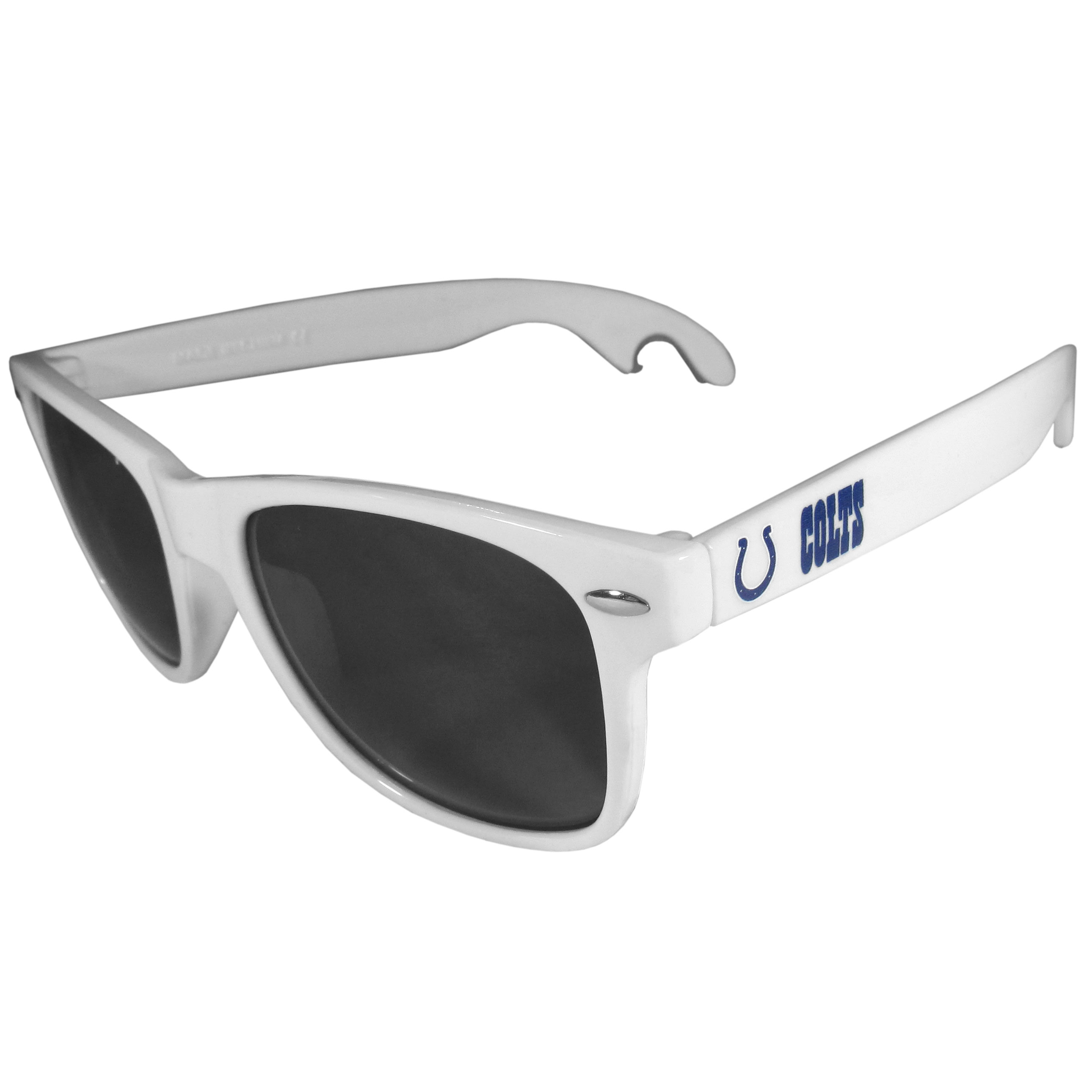 Indianapolis Colts Beachfarer Bottle Opener Sunglasses, White - Seriously, these sunglasses open bottles! Keep the party going with these amazing Indianapolis Colts bottle opener sunglasses. The stylish retro frames feature team designs on the arms and functional bottle openers on the end of the arms. Whether you are at the beach or having a backyard BBQ on game day, these shades will keep your eyes protected with 100% UVA/UVB protection and keep you hydrated with the handy bottle opener arms.