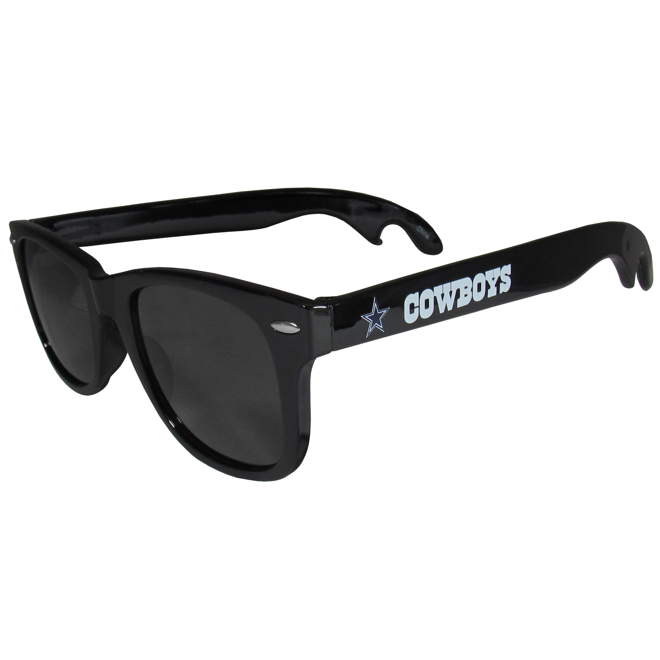 Dallas Cowboys Beachfarer Bottle Opener Sunglasses - Seriously, these sunglasses open bottles! Keep the party going with these amazing Dallas Cowboys bottle opener sunglasses. The stylish retro frames feature team designs on the arms and functional bottle openers on the end of the arms. Whether you are at the beach or having a backyard BBQ on game day, these shades will keep your eyes protected with 100% UVA/UVB protection and keep you hydrated with the handy bottle opener arms.