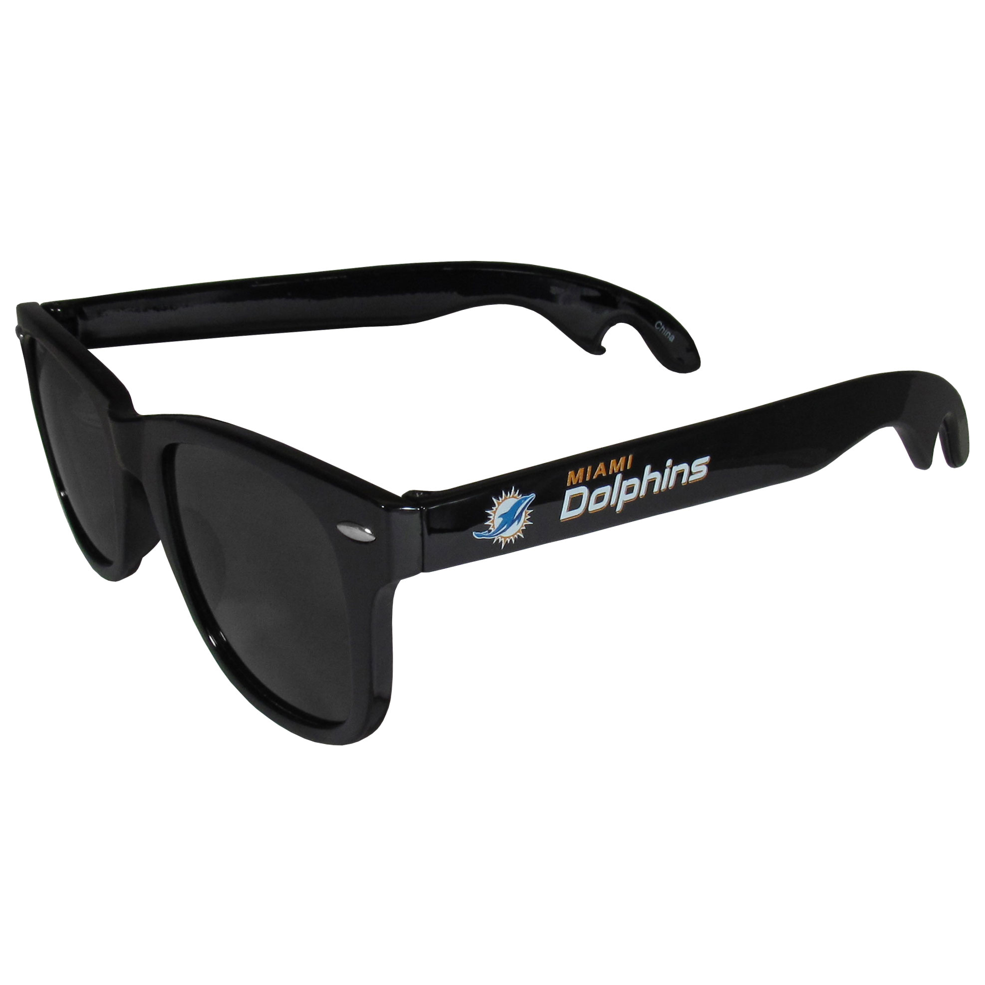 Miami Dolphins Beachfarer Bottle Opener Sunglasses - Seriously, these sunglasses open bottles! Keep the party going with these amazing Miami Dolphins bottle opener sunglasses. The stylish retro frames feature team designs on the arms and functional bottle openers on the end of the arms. Whether you are at the beach or having a backyard BBQ on game day, these shades will keep your eyes protected with 100% UVA/UVB protection and keep you hydrated with the handy bottle opener arms.