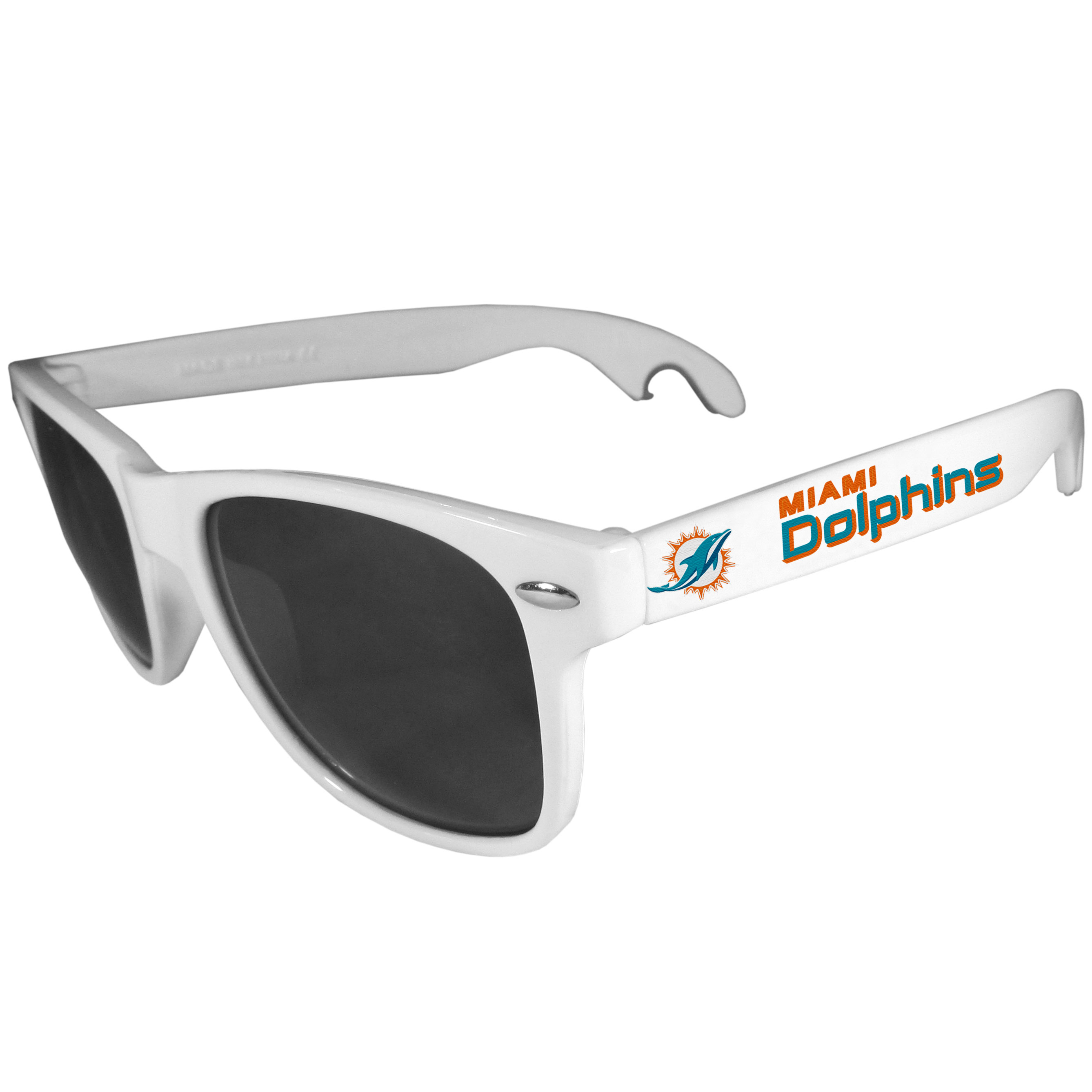 Miami Dolphins Beachfarer Bottle Opener Sunglasses, White - Seriously, these sunglasses open bottles! Keep the party going with these amazing Miami Dolphins bottle opener sunglasses. The stylish retro frames feature team designs on the arms and functional bottle openers on the end of the arms. Whether you are at the beach or having a backyard BBQ on game day, these shades will keep your eyes protected with 100% UVA/UVB protection and keep you hydrated with the handy bottle opener arms.