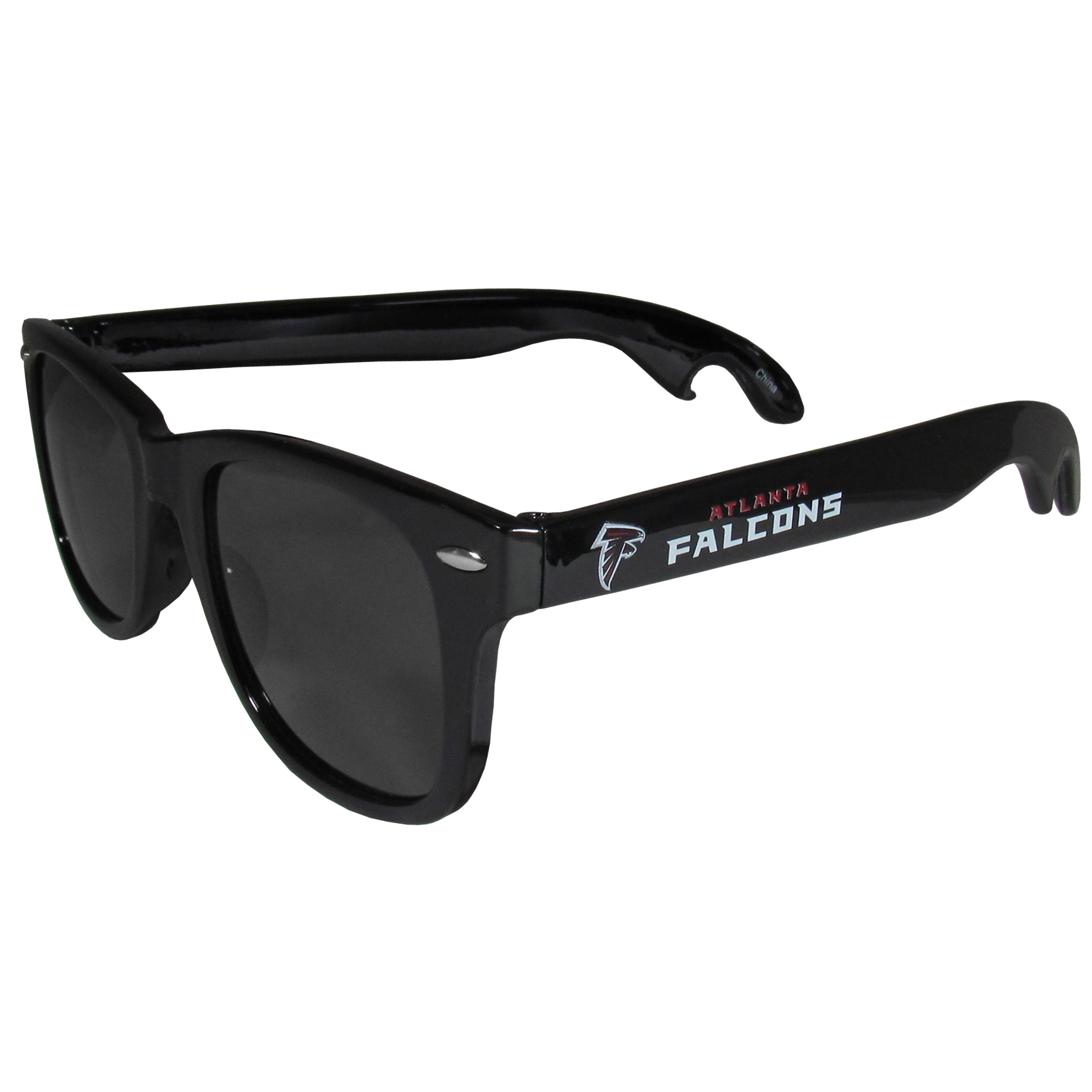 Atlanta Falcons Beachfarer Bottle Opener Sunglasses - Seriously, these sunglasses open bottles! Keep the party going with these amazing Atlanta Falcons bottle opener sunglasses. The stylish retro frames feature team designs on the arms and functional bottle openers on the end of the arms. Whether you are at the beach or having a backyard BBQ on game day, these shades will keep your eyes protected with 100% UVA/UVB protection and keep you hydrated with the handy bottle opener arms.