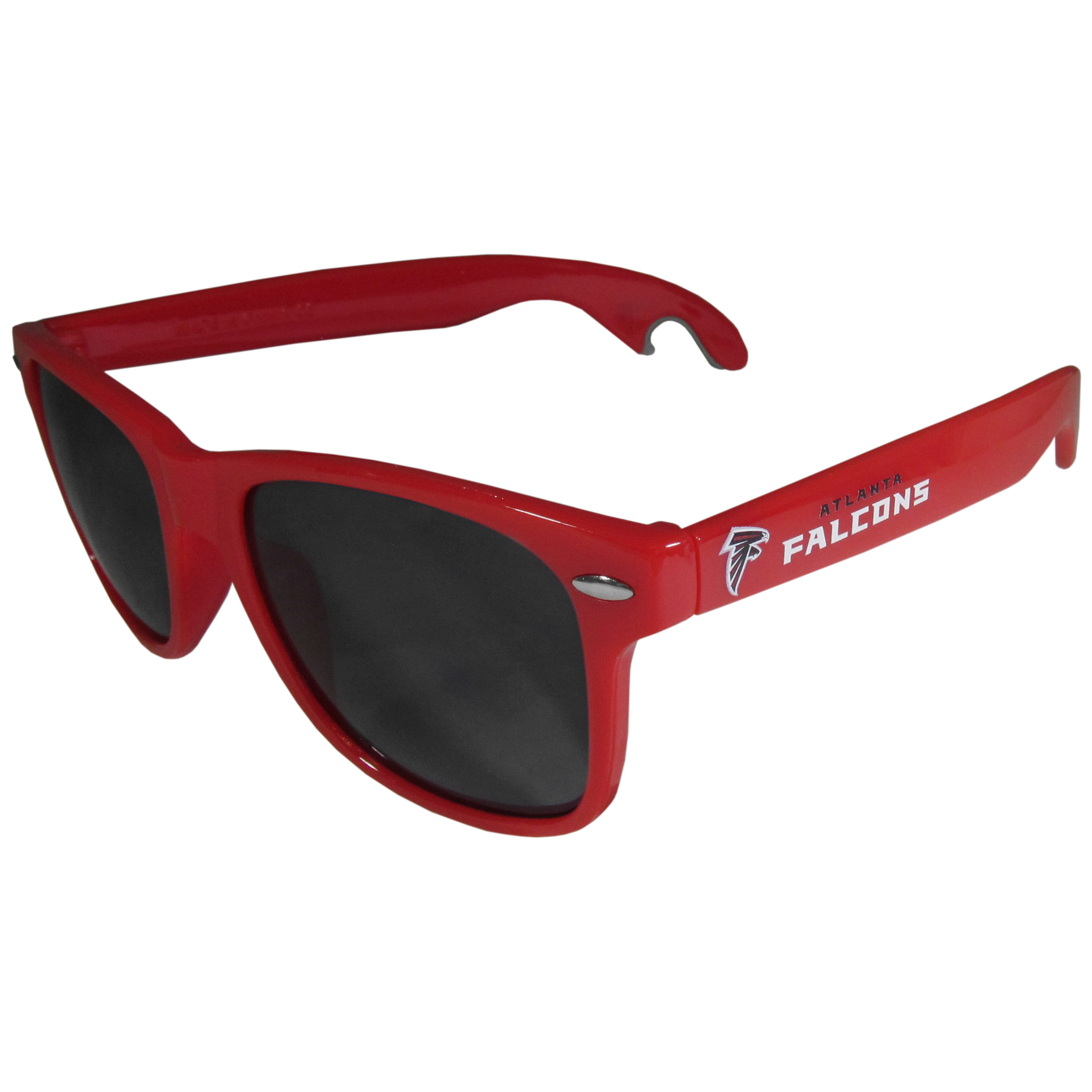 Atlanta Falcons Beachfarer Bottle Opener Sunglasses, Red - Seriously, these sunglasses open bottles! Keep the party going with these amazing Atlanta Falcons bottle opener sunglasses. The stylish retro frames feature team designs on the arms and functional bottle openers on the end of the arms. Whether you are at the beach or having a backyard BBQ on game day, these shades will keep your eyes protected with 100% UVA/UVB protection and keep you hydrated with the handy bottle opener arms.