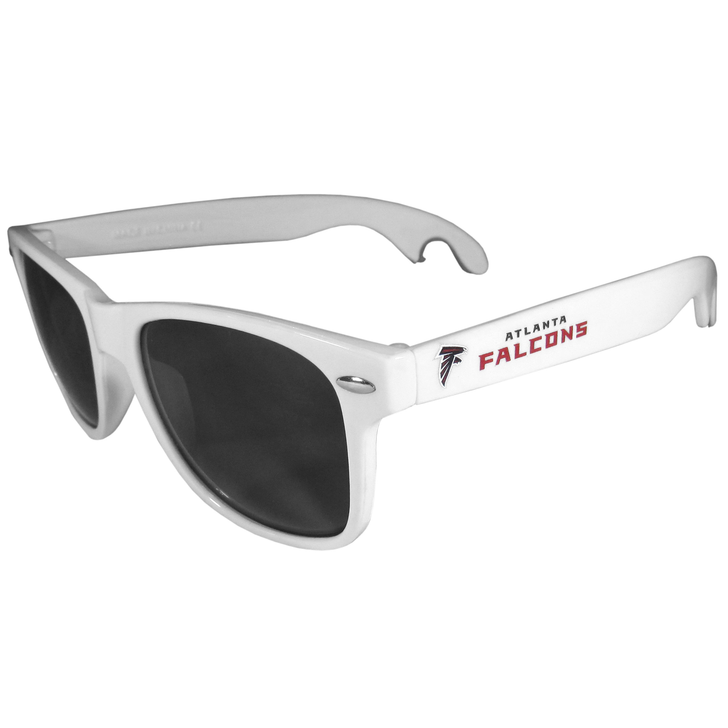 Atlanta Falcons Beachfarer Bottle Opener Sunglasses, White - Seriously, these sunglasses open bottles! Keep the party going with these amazing Atlanta Falcons bottle opener sunglasses. The stylish retro frames feature team designs on the arms and functional bottle openers on the end of the arms. Whether you are at the beach or having a backyard BBQ on game day, these shades will keep your eyes protected with 100% UVA/UVB protection and keep you hydrated with the handy bottle opener arms.