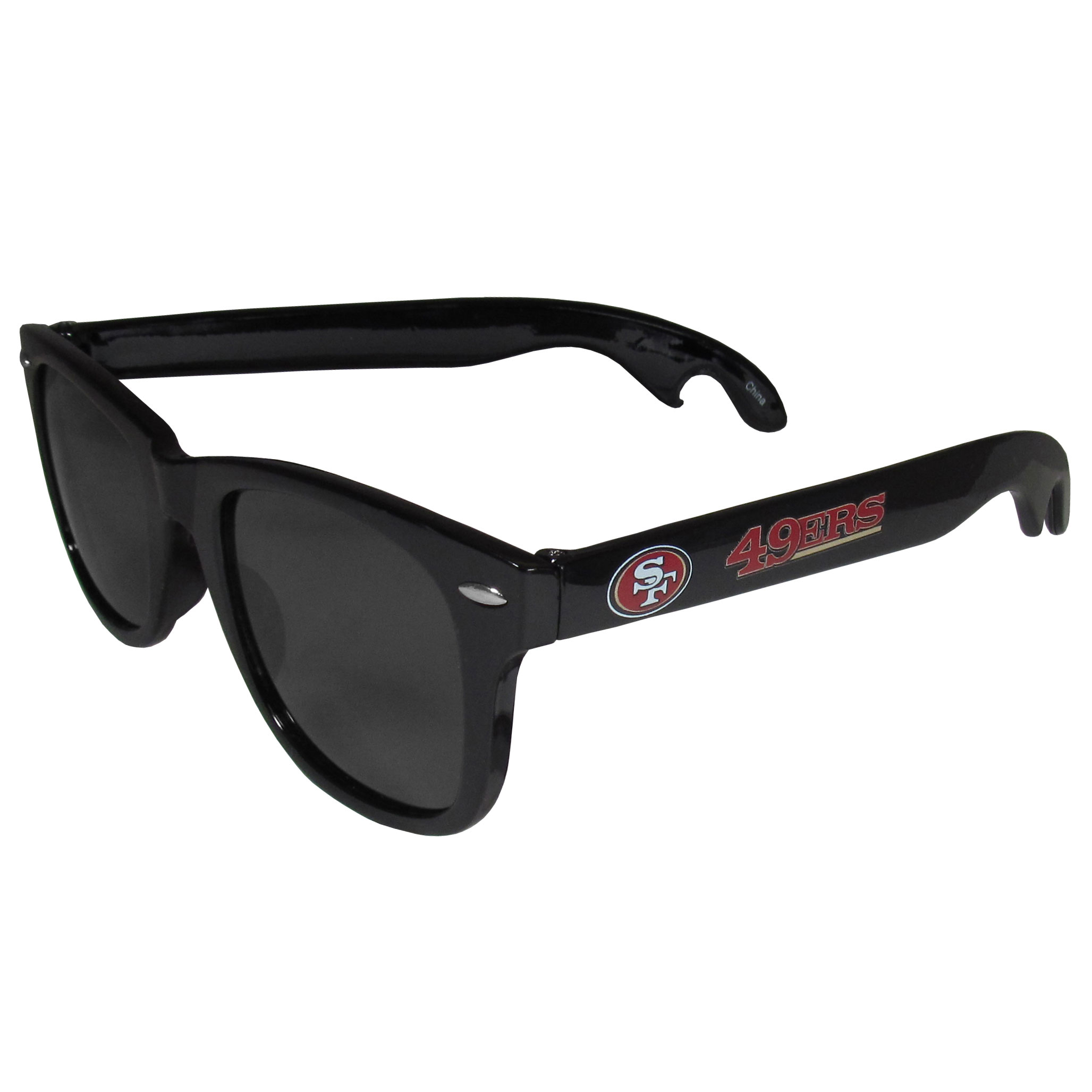 San Francisco 49ers Beachfarer Bottle Opener Sunglasses - Seriously, these sunglasses open bottles! Keep the party going with these amazing San Francisco 49ers bottle opener sunglasses. The stylish retro frames feature team designs on the arms and functional bottle openers on the end of the arms. Whether you are at the beach or having a backyard BBQ on game day, these shades will keep your eyes protected with 100% UVA/UVB protection and keep you hydrated with the handy bottle opener arms.