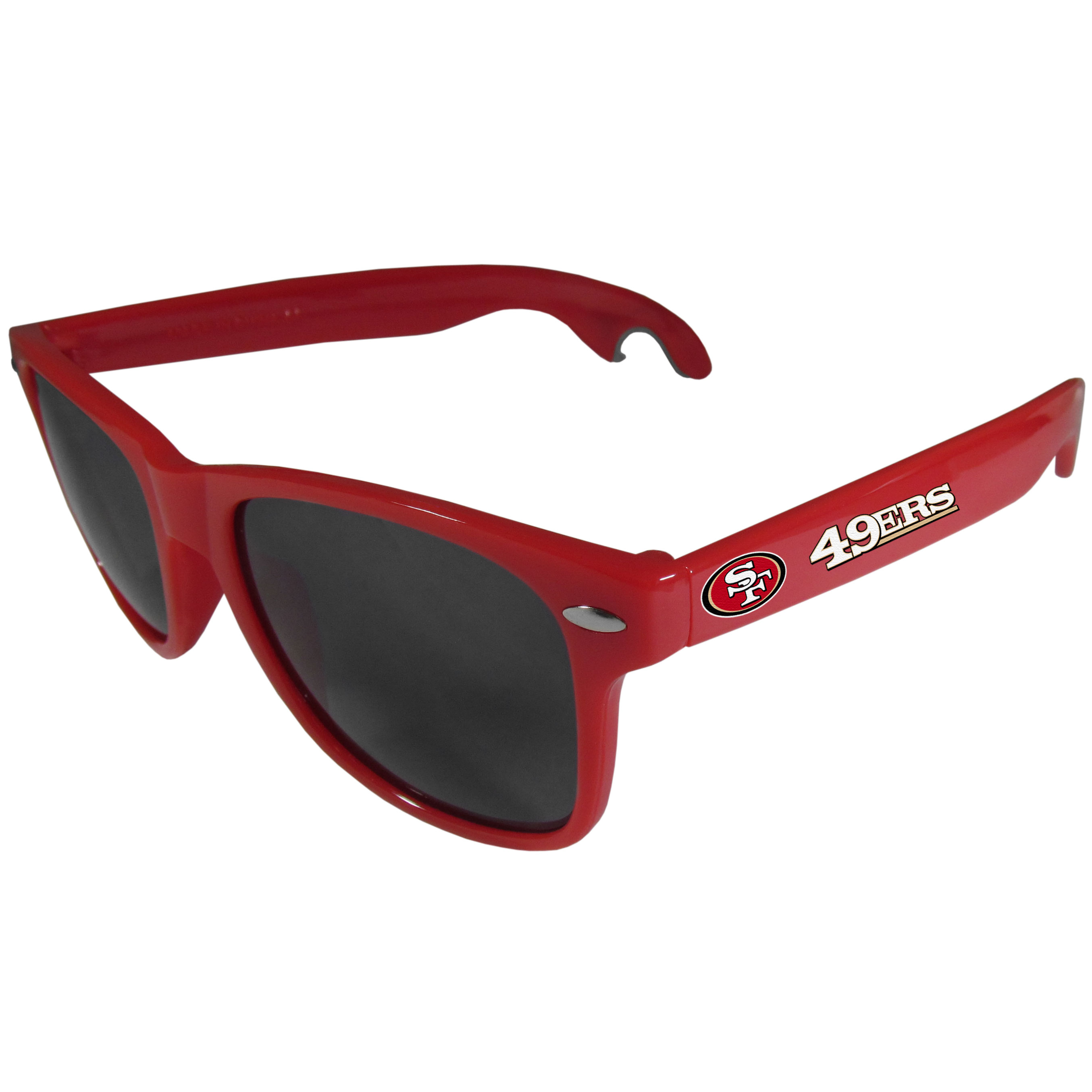 San Francisco 49ers Beachfarer Bottle Opener Sunglasses, Red - Seriously, these sunglasses open bottles! Keep the party going with these amazing San Francisco 49ers bottle opener sunglasses. The stylish retro frames feature team designs on the arms and functional bottle openers on the end of the arms. Whether you are at the beach or having a backyard BBQ on game day, these shades will keep your eyes protected with 100% UVA/UVB protection and keep you hydrated with the handy bottle opener arms.