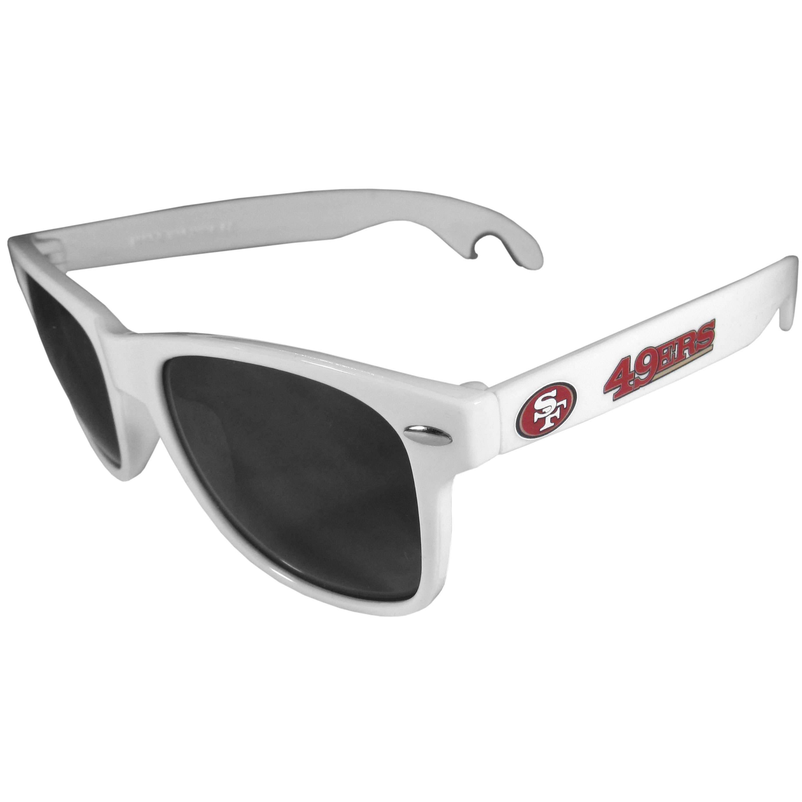 San Francisco 49ers Beachfarer Bottle Opener Sunglasses, White - Seriously, these sunglasses open bottles! Keep the party going with these amazing San Francisco 49ers bottle opener sunglasses. The stylish retro frames feature team designs on the arms and functional bottle openers on the end of the arms. Whether you are at the beach or having a backyard BBQ on game day, these shades will keep your eyes protected with 100% UVA/UVB protection and keep you hydrated with the handy bottle opener arms.