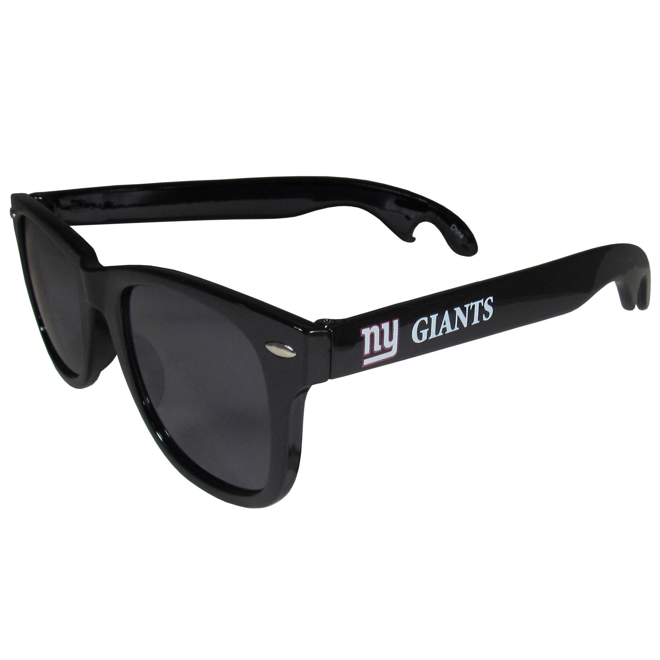 New York Giants Beachfarer Bottle Opener Sunglasses - Seriously, these sunglasses open bottles! Keep the party going with these amazing New York Giants bottle opener sunglasses. The stylish retro frames feature team designs on the arms and functional bottle openers on the end of the arms. Whether you are at the beach or having a backyard BBQ on game day, these shades will keep your eyes protected with 100% UVA/UVB protection and keep you hydrated with the handy bottle opener arms.