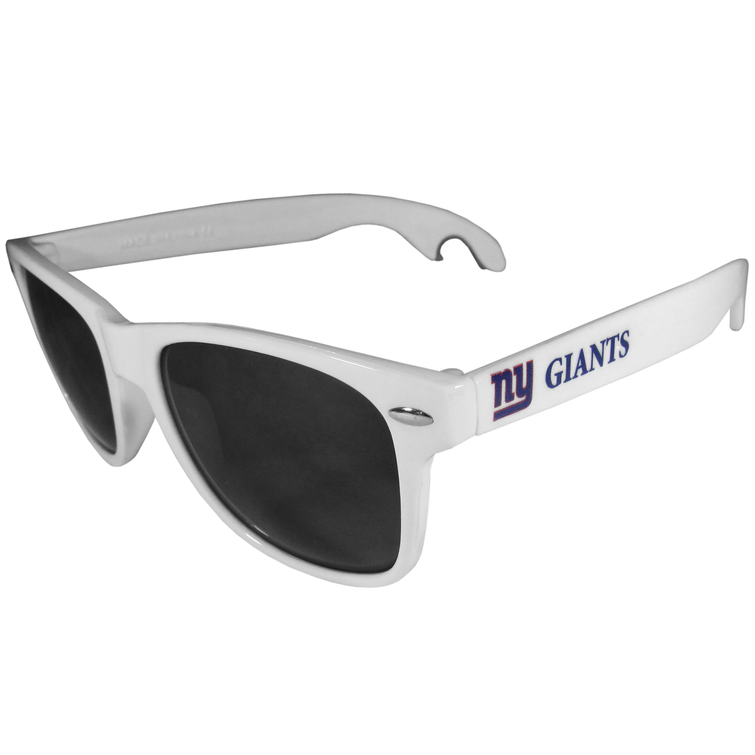 New York Giants Beachfarer Bottle Opener Sunglasses, White - Seriously, these sunglasses open bottles! Keep the party going with these amazing New York Giants bottle opener sunglasses. The stylish retro frames feature team designs on the arms and functional bottle openers on the end of the arms. Whether you are at the beach or having a backyard BBQ on game day, these shades will keep your eyes protected with 100% UVA/UVB protection and keep you hydrated with the handy bottle opener arms.