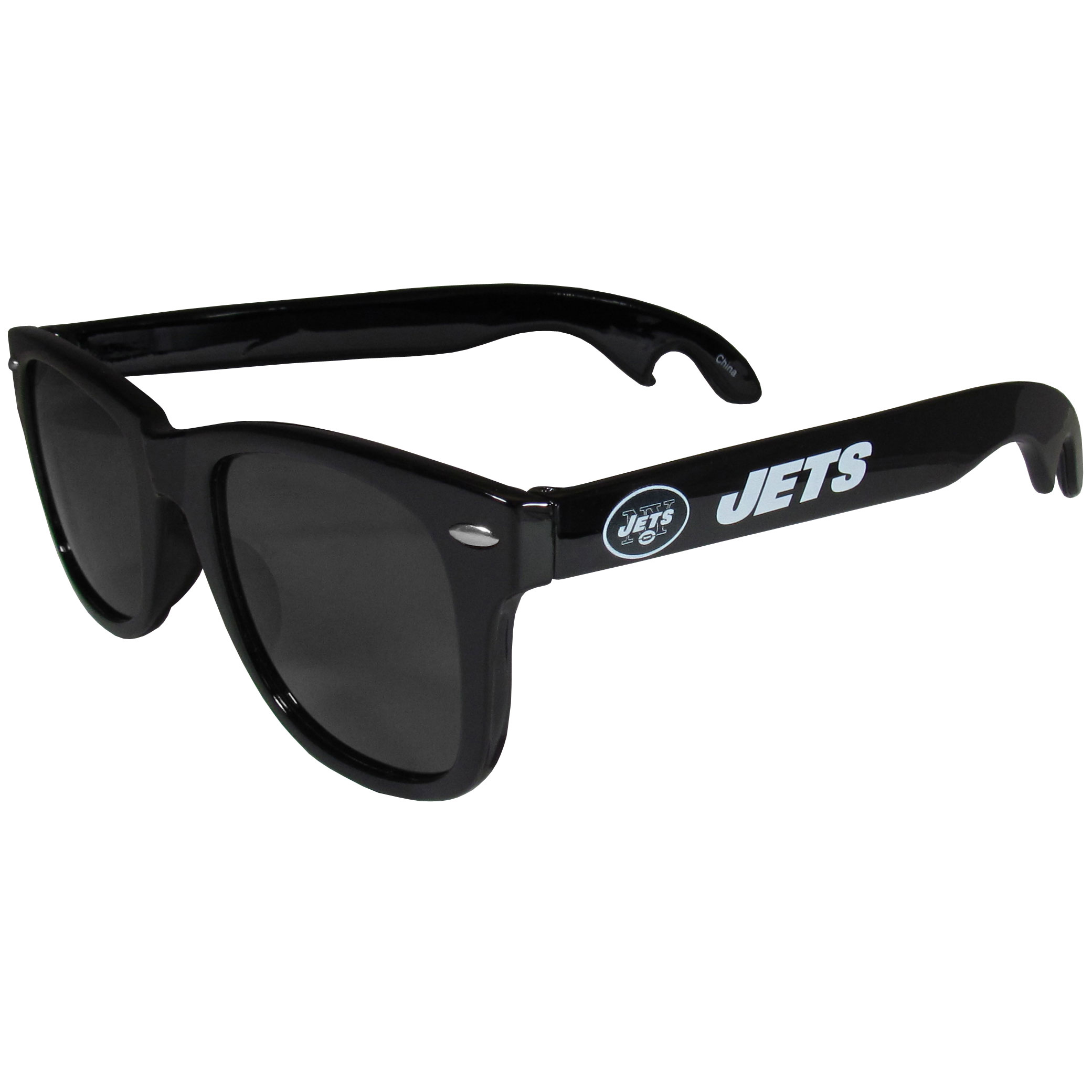 New York Jets Beachfarer Bottle Opener Sunglasses - Seriously, these sunglasses open bottles! Keep the party going with these amazing New York Jets bottle opener sunglasses. The stylish retro frames feature team designs on the arms and functional bottle openers on the end of the arms. Whether you are at the beach or having a backyard BBQ on game day, these shades will keep your eyes protected with 100% UVA/UVB protection and keep you hydrated with the handy bottle opener arms.
