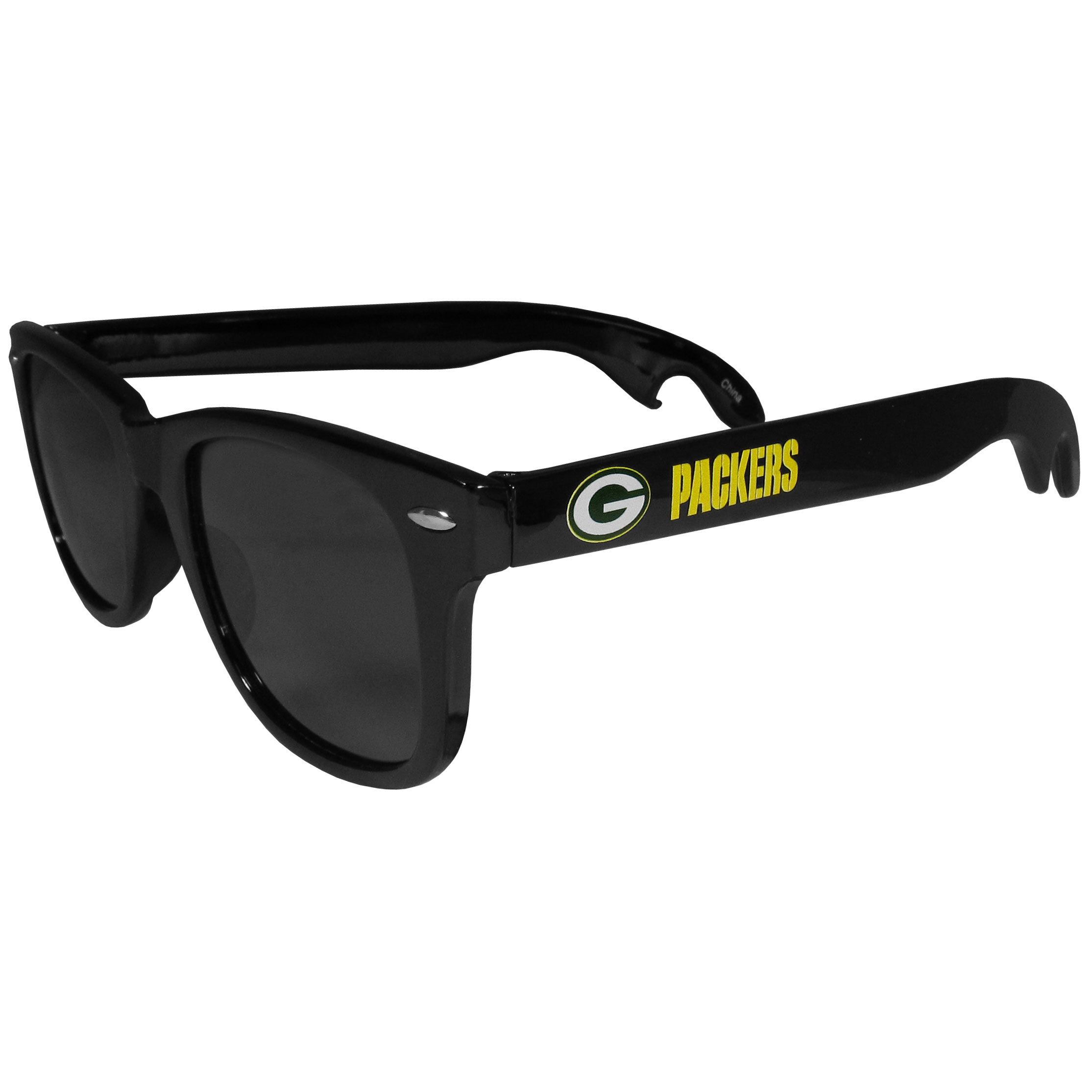Green Bay Packers Beachfarer Bottle Opener Sunglasses - Seriously, these sunglasses open bottles! Keep the party going with these amazing Green Bay Packers bottle opener sunglasses. The stylish retro frames feature team designs on the arms and functional bottle openers on the end of the arms. Whether you are at the beach or having a backyard BBQ on game day, these shades will keep your eyes protected with 100% UVA/UVB protection and keep you hydrated with the handy bottle opener arms.