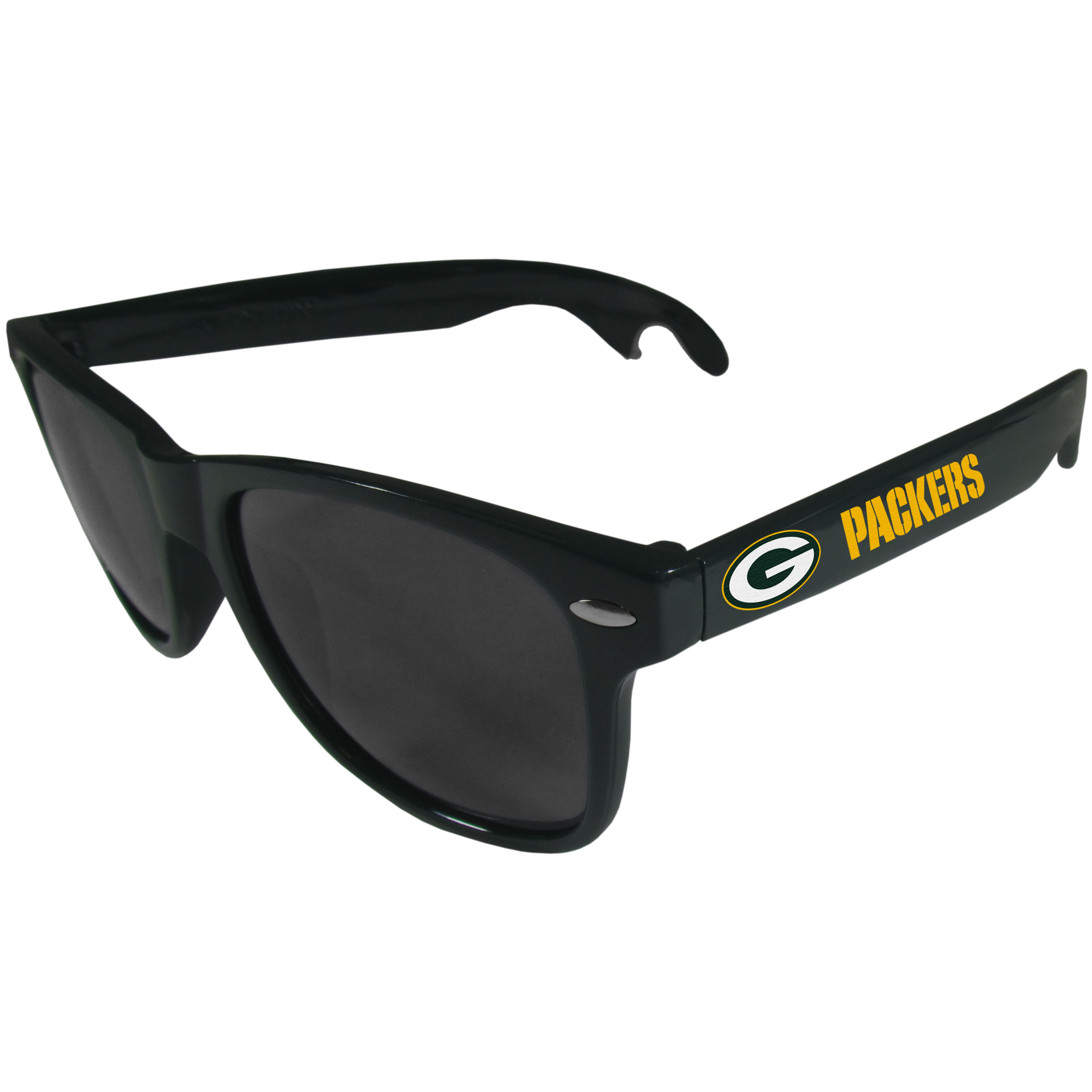 Green Bay Packers Beachfarer Bottle Opener Sunglasses, Dark Green - Seriously, these sunglasses open bottles! Keep the party going with these amazing Green Bay Packers bottle opener sunglasses. The stylish retro frames feature team designs on the arms and functional bottle openers on the end of the arms. Whether you are at the beach or having a backyard BBQ on game day, these shades will keep your eyes protected with 100% UVA/UVB protection and keep you hydrated with the handy bottle opener arms.