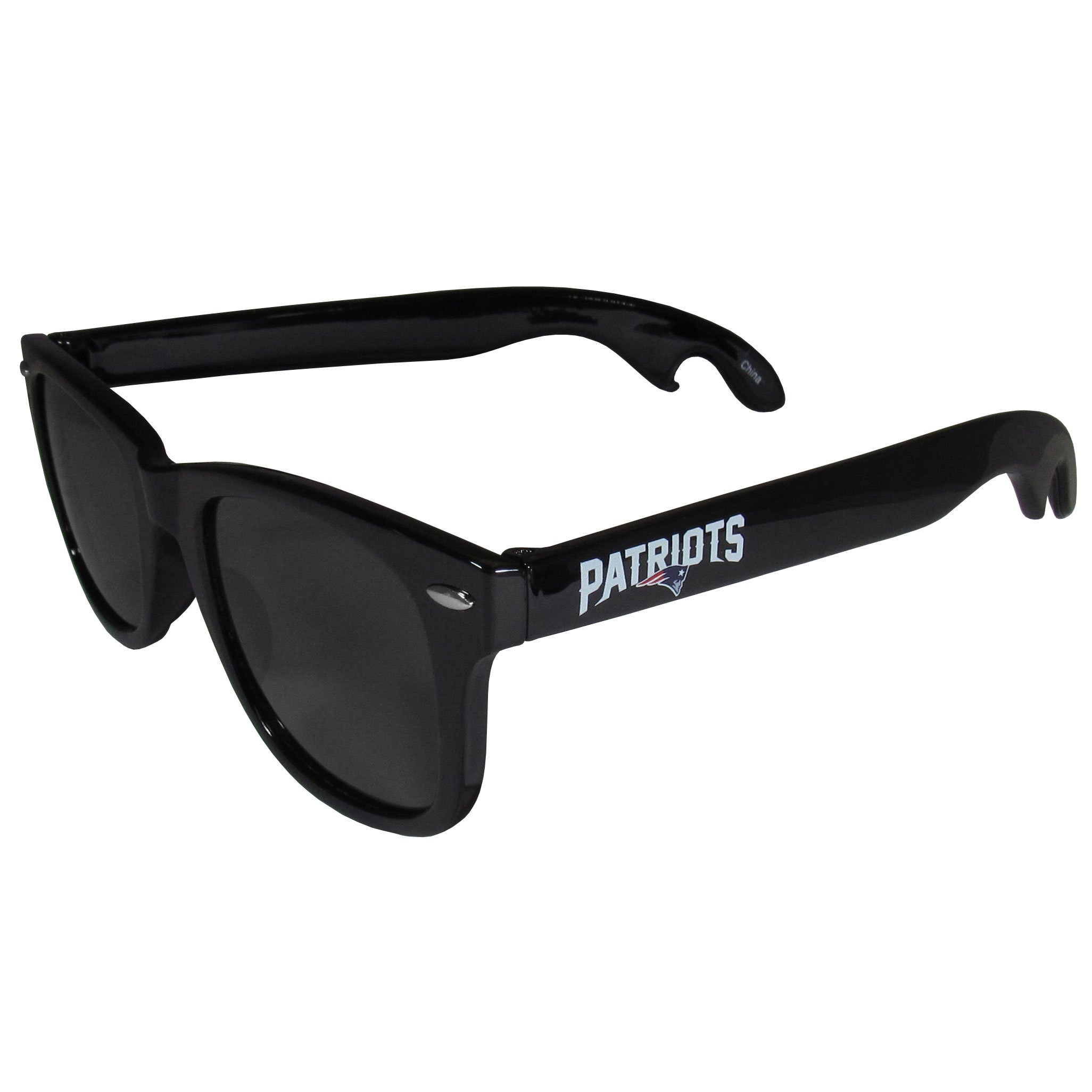 New England Patriots Beachfarer Bottle Opener Sunglasses - Seriously, these sunglasses open bottles! Keep the party going with these amazing New England Patriots bottle opener sunglasses. The stylish retro frames feature team designs on the arms and functional bottle openers on the end of the arms. Whether you are at the beach or having a backyard BBQ on game day, these shades will keep your eyes protected with 100% UVA/UVB protection and keep you hydrated with the handy bottle opener arms.