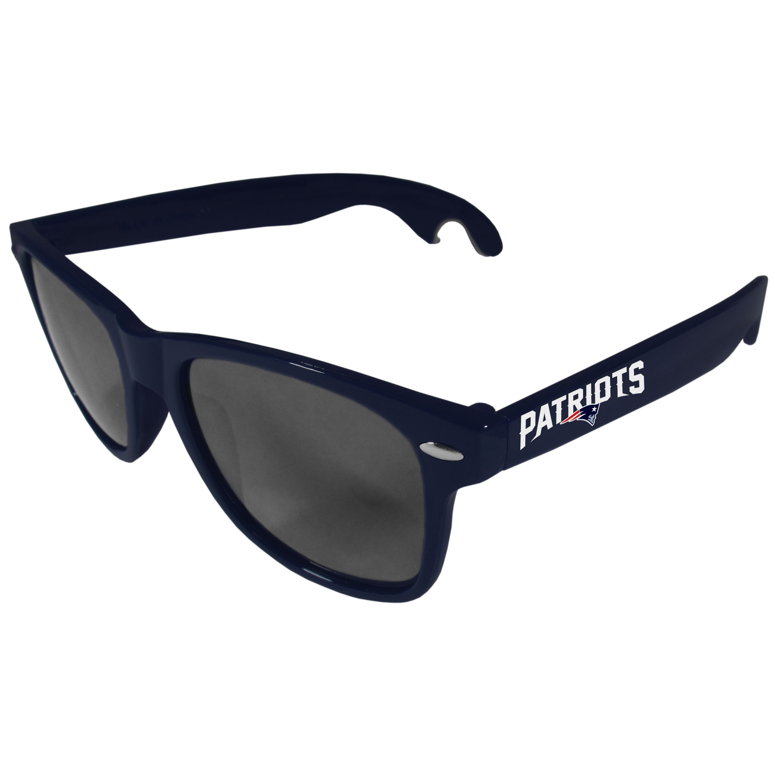 New England Patriots Beachfarer Bottle Opener Sunglasses, Dark Blue - Seriously, these sunglasses open bottles! Keep the party going with these amazing New England Patriots bottle opener sunglasses. The stylish retro frames feature team designs on the arms and functional bottle openers on the end of the arms. Whether you are at the beach or having a backyard BBQ on game day, these shades will keep your eyes protected with 100% UVA/UVB protection and keep you hydrated with the handy bottle opener arms.