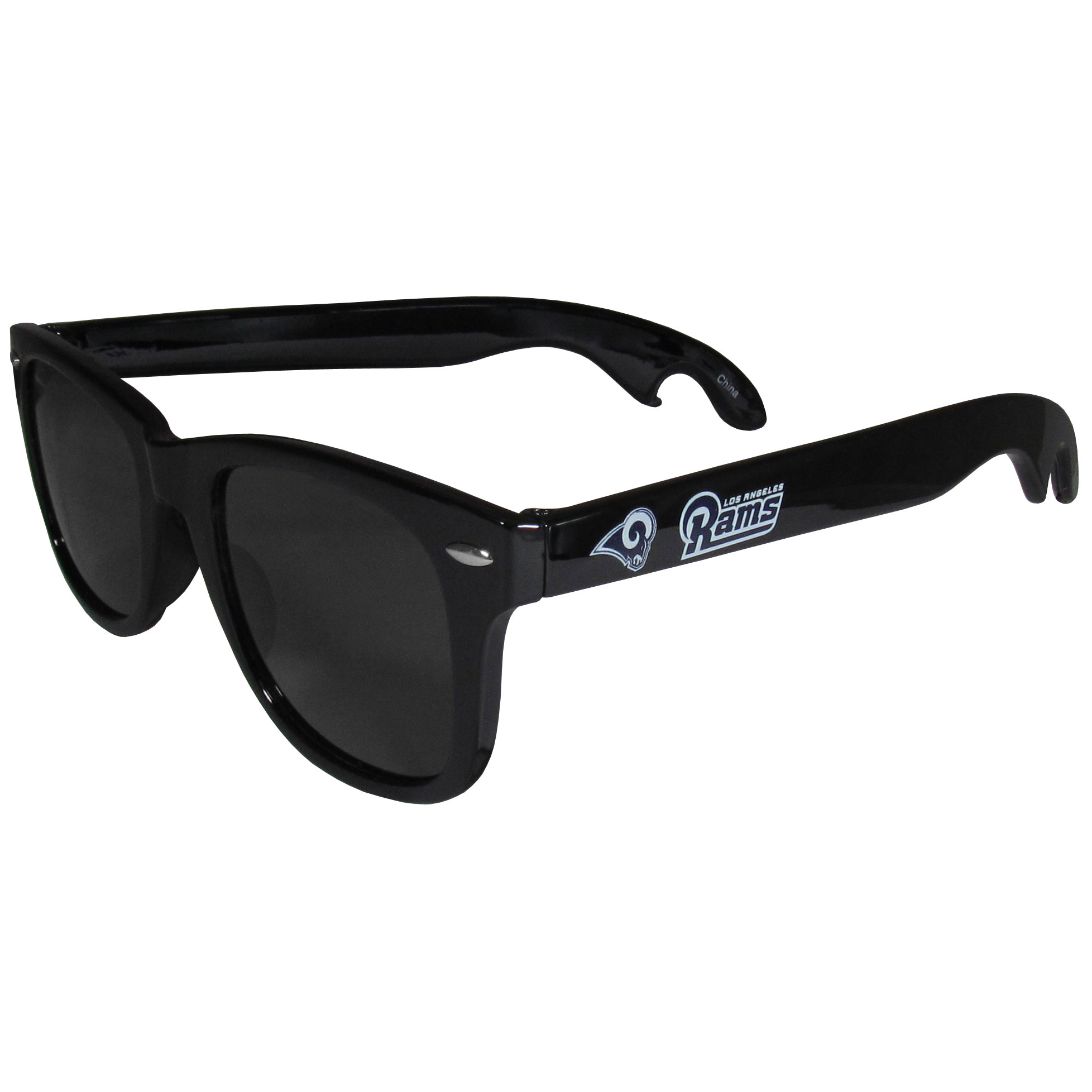 Los Angeles Rams Beachfarer Bottle Opener Sunglasses - Seriously, these sunglasses open bottles! Keep the party going with these amazing Los Angeles Rams bottle opener sunglasses. The stylish retro frames feature team designs on the arms and functional bottle openers on the end of the arms. Whether you are at the beach or having a backyard BBQ on game day, these shades will keep your eyes protected with 100% UVA/UVB protection and keep you hydrated with the handy bottle opener arms.
