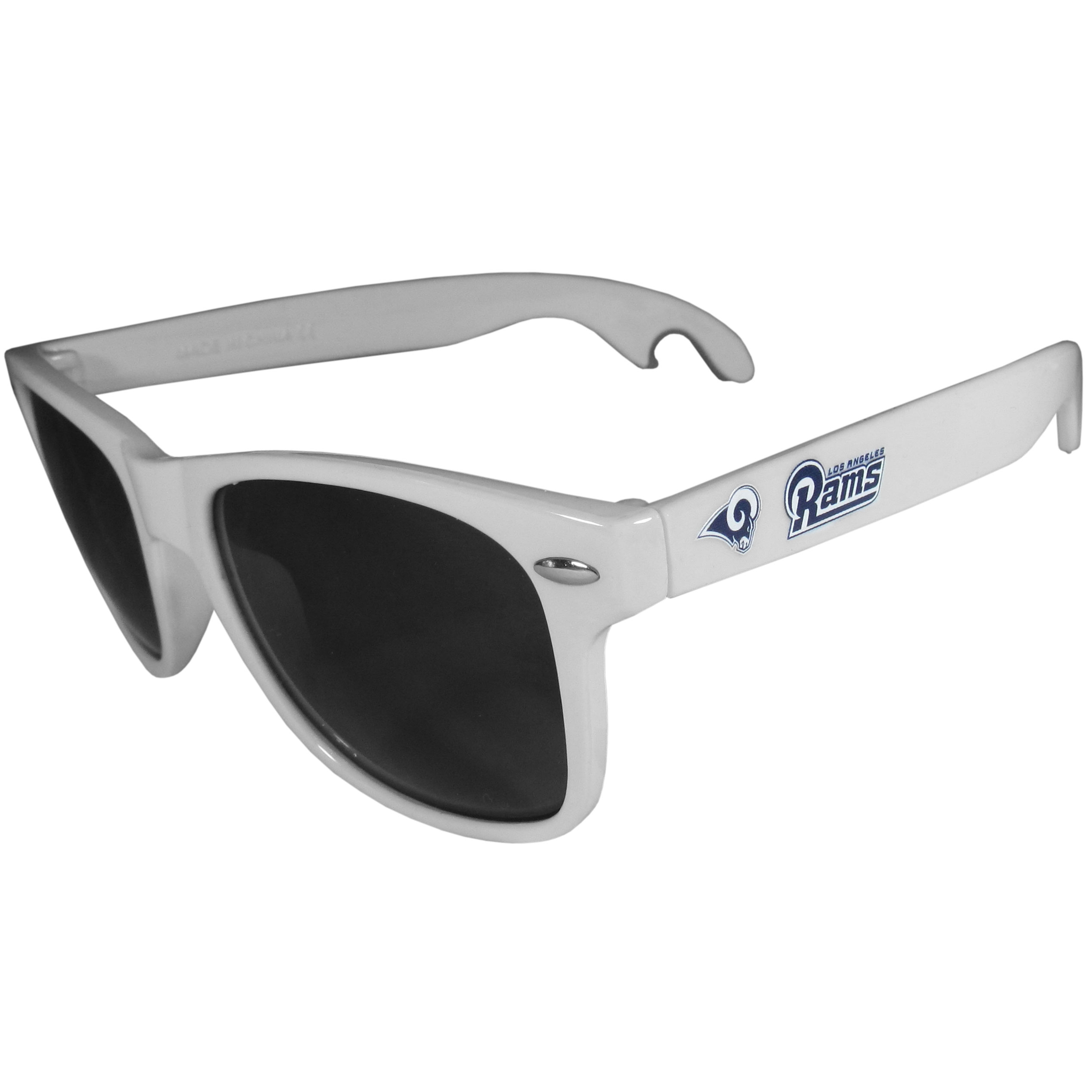 Los Angeles Rams Beachfarer Bottle Opener Sunglasses, White - Seriously, these sunglasses open bottles! Keep the party going with these amazing Los Angeles Rams bottle opener sunglasses. The stylish retro frames feature team designs on the arms and functional bottle openers on the end of the arms. Whether you are at the beach or having a backyard BBQ on game day, these shades will keep your eyes protected with 100% UVA/UVB protection and keep you hydrated with the handy bottle opener arms.