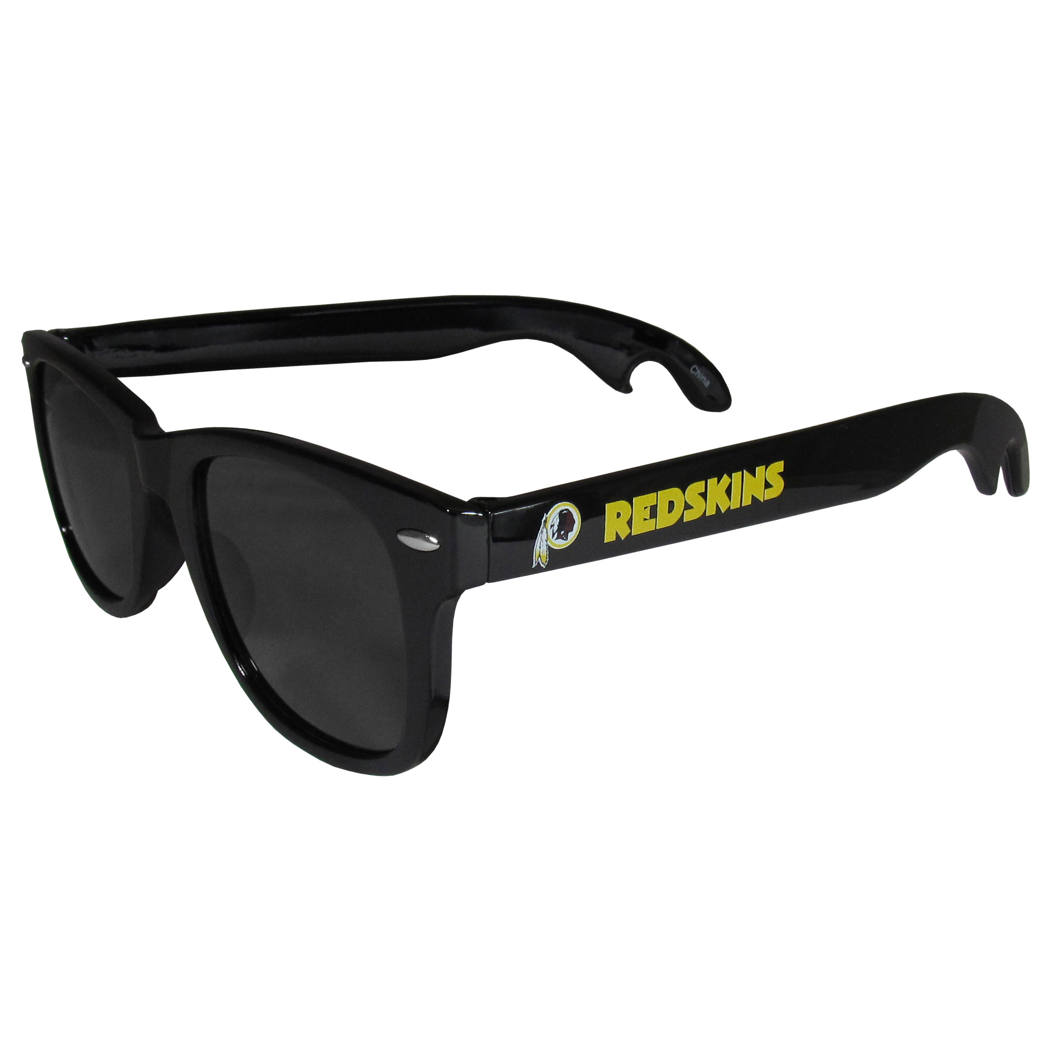 Washington Redskins Beachfarer Bottle Opener Sunglasses - Seriously, these sunglasses open bottles! Keep the party going with these amazing Washington Redskins bottle opener sunglasses. The stylish retro frames feature team designs on the arms and functional bottle openers on the end of the arms. Whether you are at the beach or having a backyard BBQ on game day, these shades will keep your eyes protected with 100% UVA/UVB protection and keep you hydrated with the handy bottle opener arms.