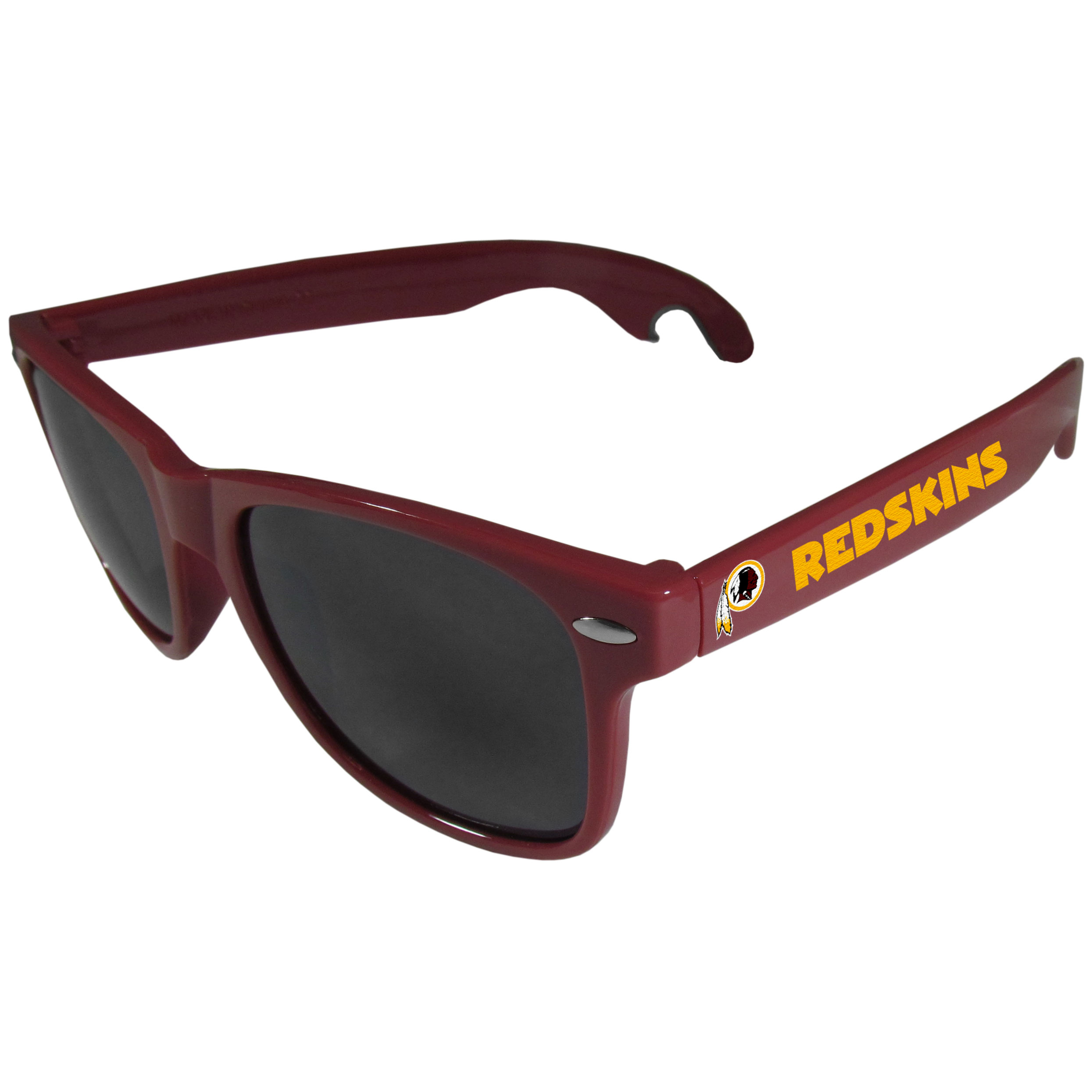 Washington Redskins Beachfarer Bottle Opener Sunglasses, Maroon - Seriously, these sunglasses open bottles! Keep the party going with these amazing Washington Redskins bottle opener sunglasses. The stylish retro frames feature team designs on the arms and functional bottle openers on the end of the arms. Whether you are at the beach or having a backyard BBQ on game day, these shades will keep your eyes protected with 100% UVA/UVB protection and keep you hydrated with the handy bottle opener arms.