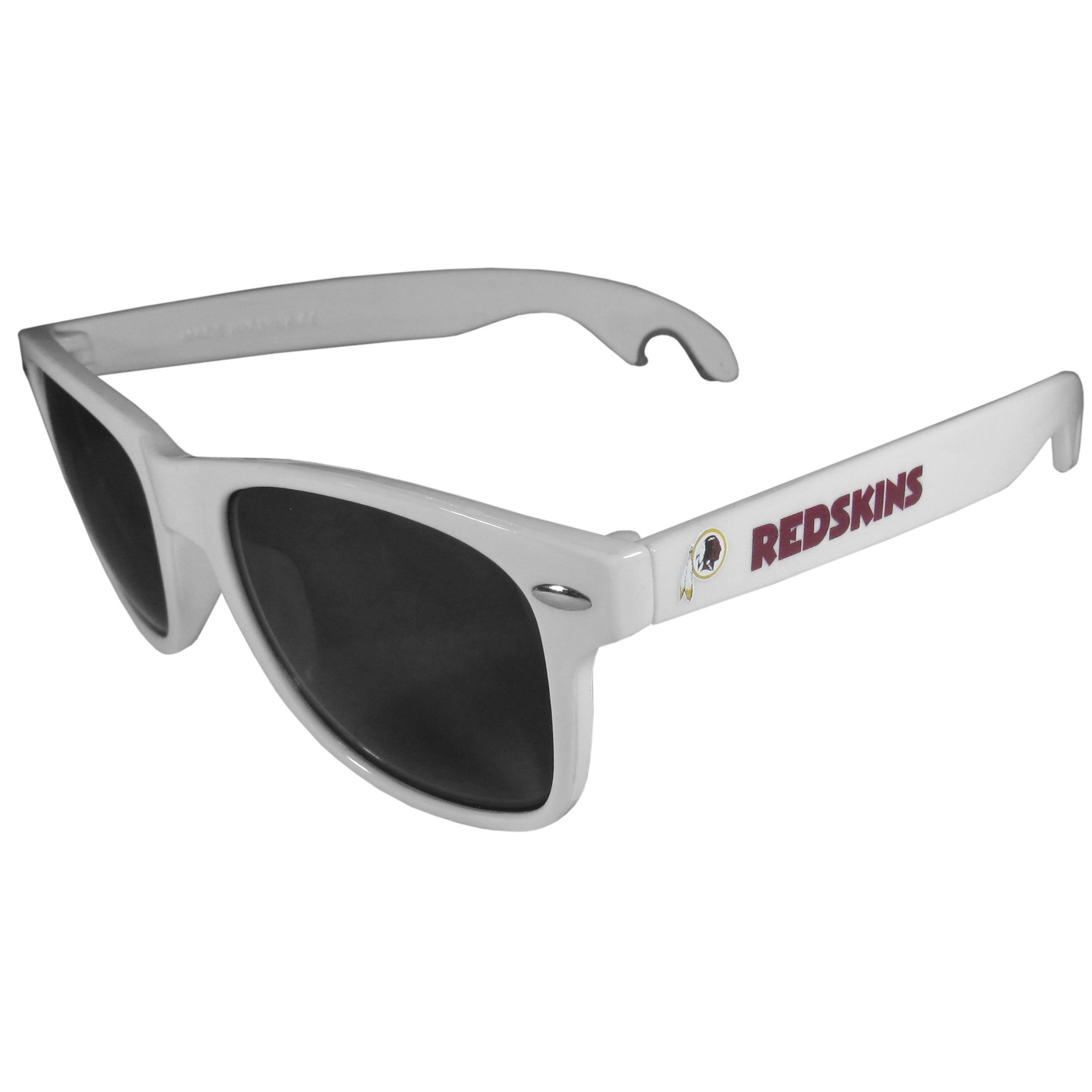 Washington Redskins Beachfarer Bottle Opener Sunglasses, White - Seriously, these sunglasses open bottles! Keep the party going with these amazing Washington Redskins bottle opener sunglasses. The stylish retro frames feature team designs on the arms and functional bottle openers on the end of the arms. Whether you are at the beach or having a backyard BBQ on game day, these shades will keep your eyes protected with 100% UVA/UVB protection and keep you hydrated with the handy bottle opener arms.