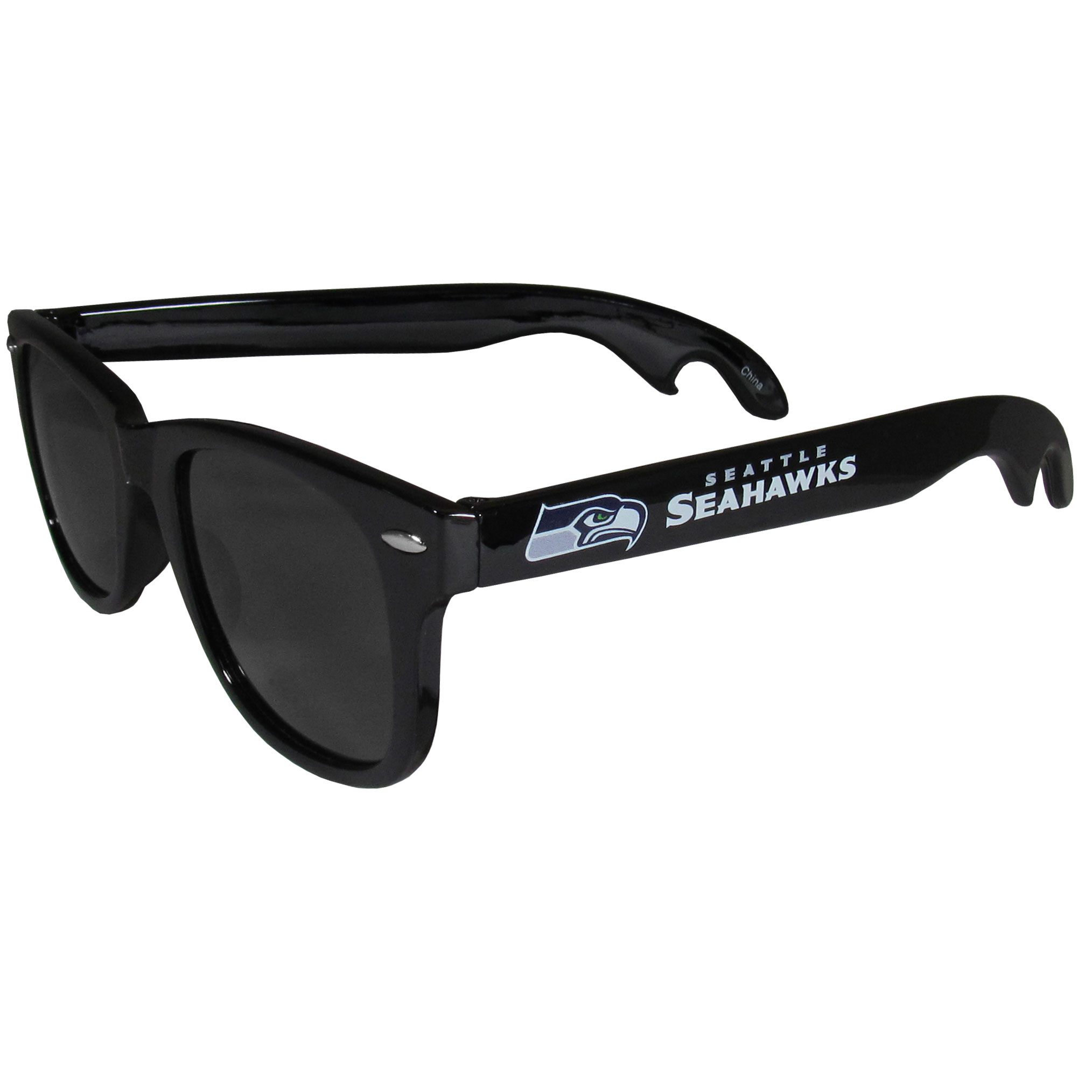 Seattle Seahawks Beachfarer Bottle Opener Sunglasses - Seriously, these sunglasses open bottles! Keep the party going with these amazing Seattle Seahawks bottle opener sunglasses. The stylish retro frames feature team designs on the arms and functional bottle openers on the end of the arms. Whether you are at the beach or having a backyard BBQ on game day, these shades will keep your eyes protected with 100% UVA/UVB protection and keep you hydrated with the handy bottle opener arms.