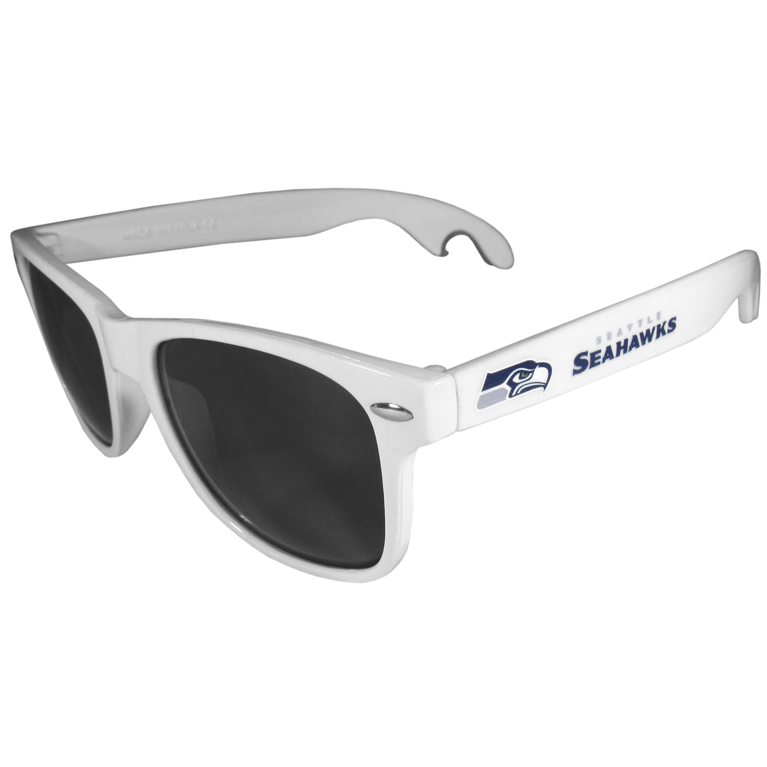 Seattle Seahawks Beachfarer Bottle Opener Sunglasses, White - Seriously, these sunglasses open bottles! Keep the party going with these amazing Seattle Seahawks bottle opener sunglasses. The stylish retro frames feature team designs on the arms and functional bottle openers on the end of the arms. Whether you are at the beach or having a backyard BBQ on game day, these shades will keep your eyes protected with 100% UVA/UVB protection and keep you hydrated with the handy bottle opener arms.
