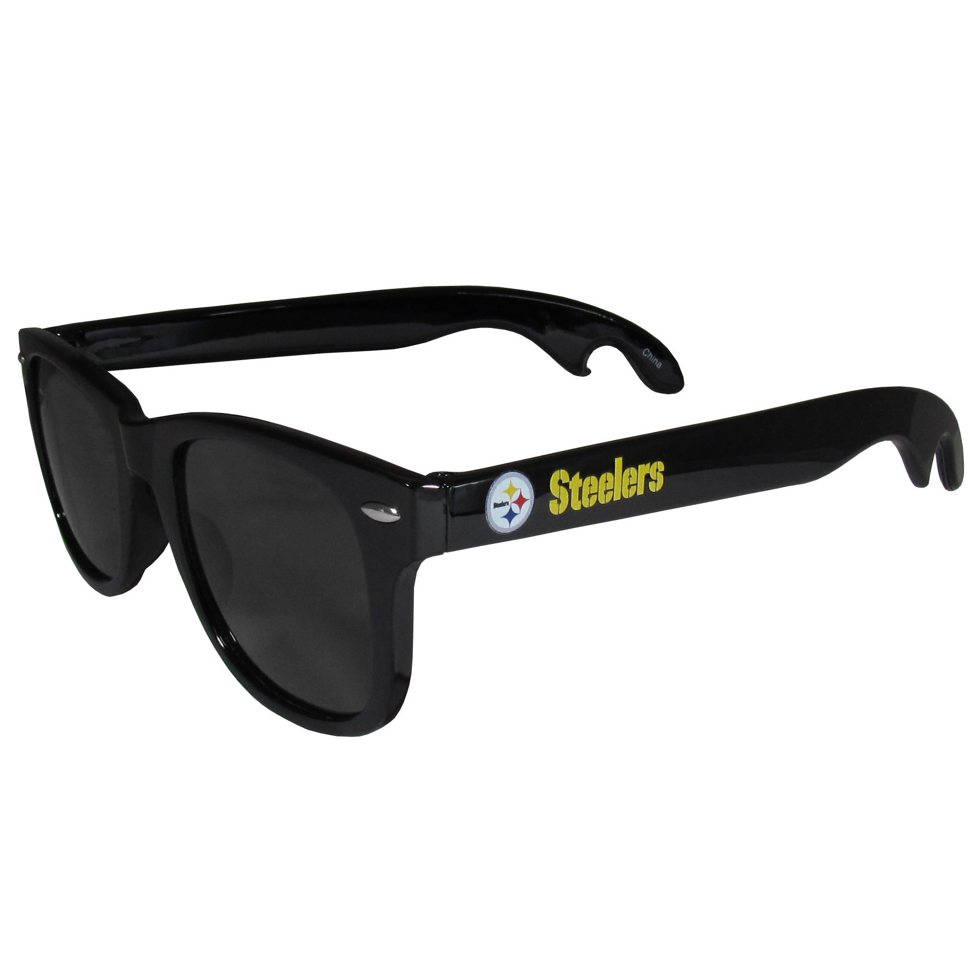 Pittsburgh Steelers Beachfarer Bottle Opener Sunglasses - Seriously, these sunglasses open bottles! Keep the party going with these amazing Pittsburgh Steelers bottle opener sunglasses. The stylish retro frames feature team designs on the arms and functional bottle openers on the end of the arms. Whether you are at the beach or having a backyard BBQ on game day, these shades will keep your eyes protected with 100% UVA/UVB protection and keep you hydrated with the handy bottle opener arms.