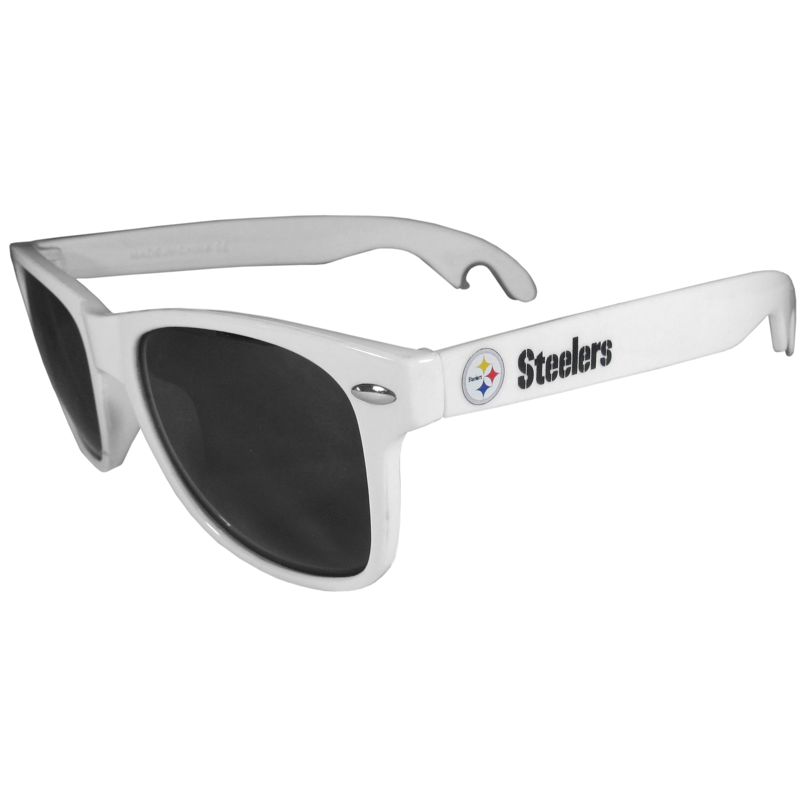 Pittsburgh Steelers Beachfarer Bottle Opener Sunglasses, White - Seriously, these sunglasses open bottles! Keep the party going with these amazing Pittsburgh Steelers bottle opener sunglasses. The stylish retro frames feature team designs on the arms and functional bottle openers on the end of the arms. Whether you are at the beach or having a backyard BBQ on game day, these shades will keep your eyes protected with 100% UVA/UVB protection and keep you hydrated with the handy bottle opener arms.