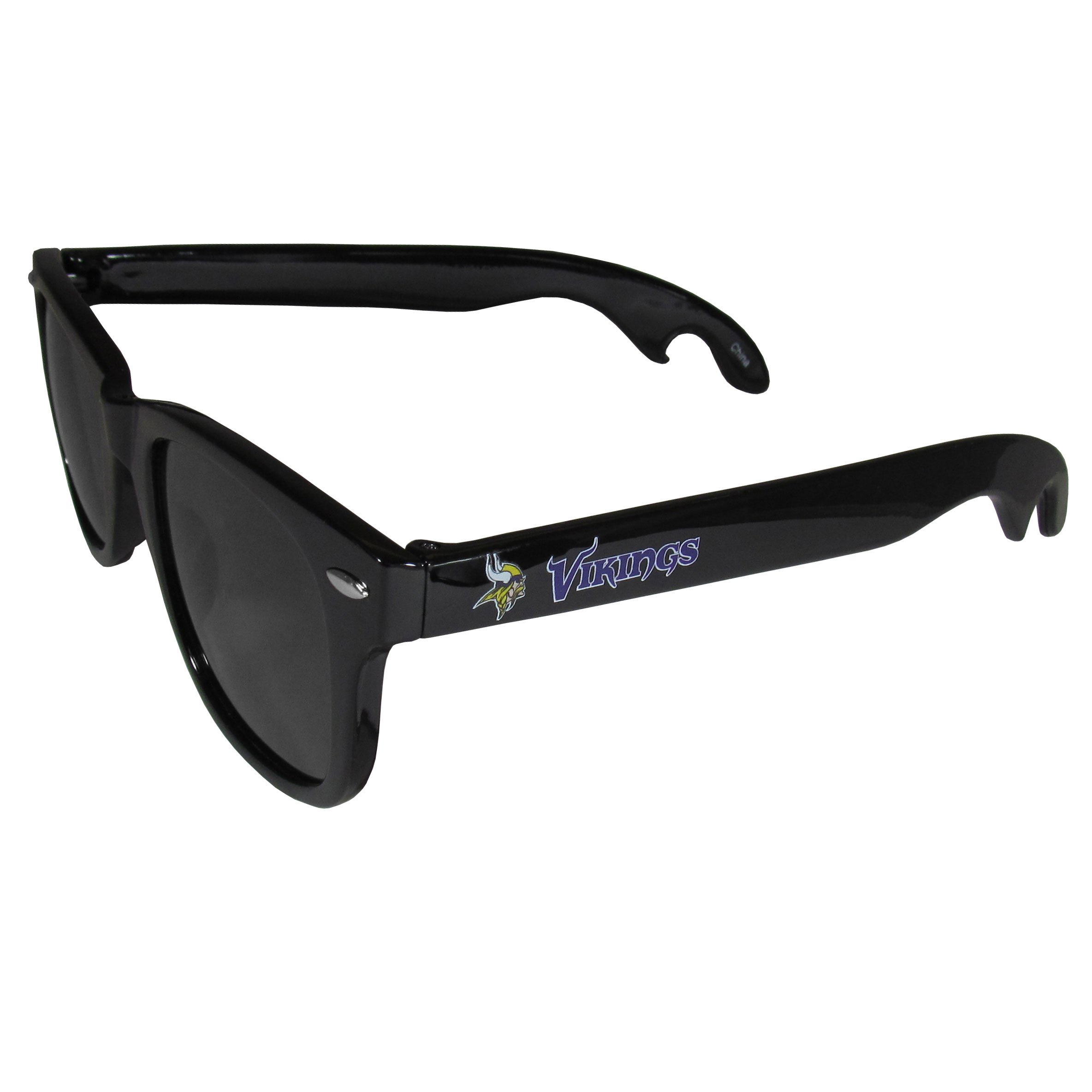 Minnesota Vikings Beachfarer Bottle Opener Sunglasses - Seriously, these sunglasses open bottles! Keep the party going with these amazing Minnesota Vikings bottle opener sunglasses. The stylish retro frames feature team designs on the arms and functional bottle openers on the end of the arms. Whether you are at the beach or having a backyard BBQ on game day, these shades will keep your eyes protected with 100% UVA/UVB protection and keep you hydrated with the handy bottle opener arms.