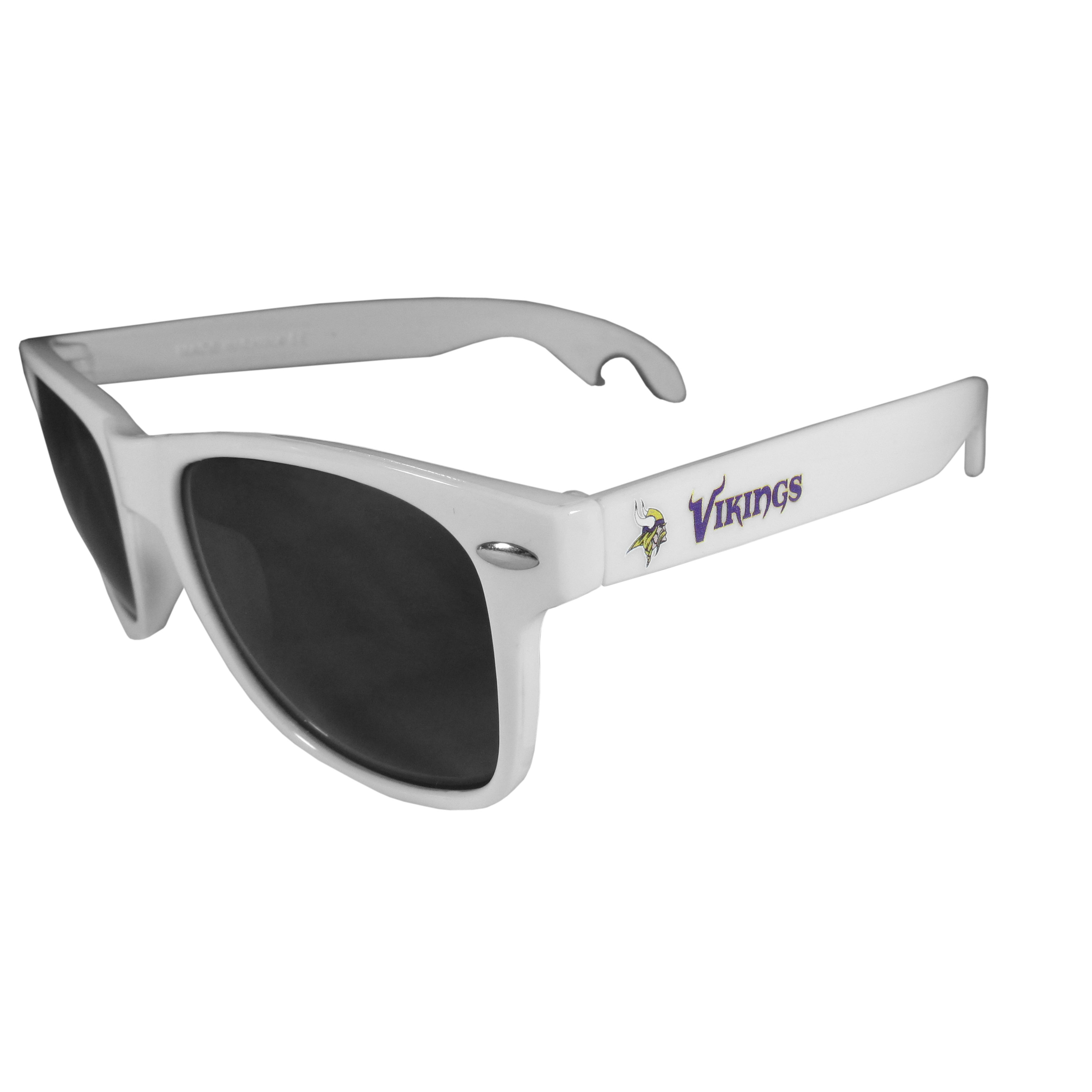 Minnesota Vikings Beachfarer Bottle Opener Sunglasses, White - Seriously, these sunglasses open bottles! Keep the party going with these amazing Minnesota Vikings bottle opener sunglasses. The stylish retro frames feature team designs on the arms and functional bottle openers on the end of the arms. Whether you are at the beach or having a backyard BBQ on game day, these shades will keep your eyes protected with 100% UVA/UVB protection and keep you hydrated with the handy bottle opener arms.