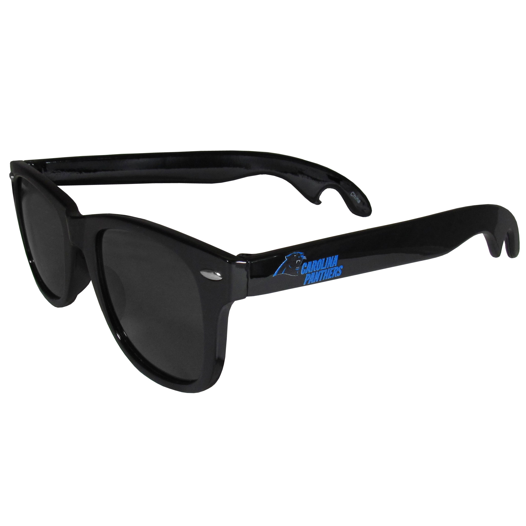 Carolina Panthers Beachfarer Bottle Opener Sunglasses - Seriously, these sunglasses open bottles! Keep the party going with these amazing Carolina Panthers bottle opener sunglasses. The stylish retro frames feature team designs on the arms and functional bottle openers on the end of the arms. Whether you are at the beach or having a backyard BBQ on game day, these shades will keep your eyes protected with 100% UVA/UVB protection and keep you hydrated with the handy bottle opener arms.