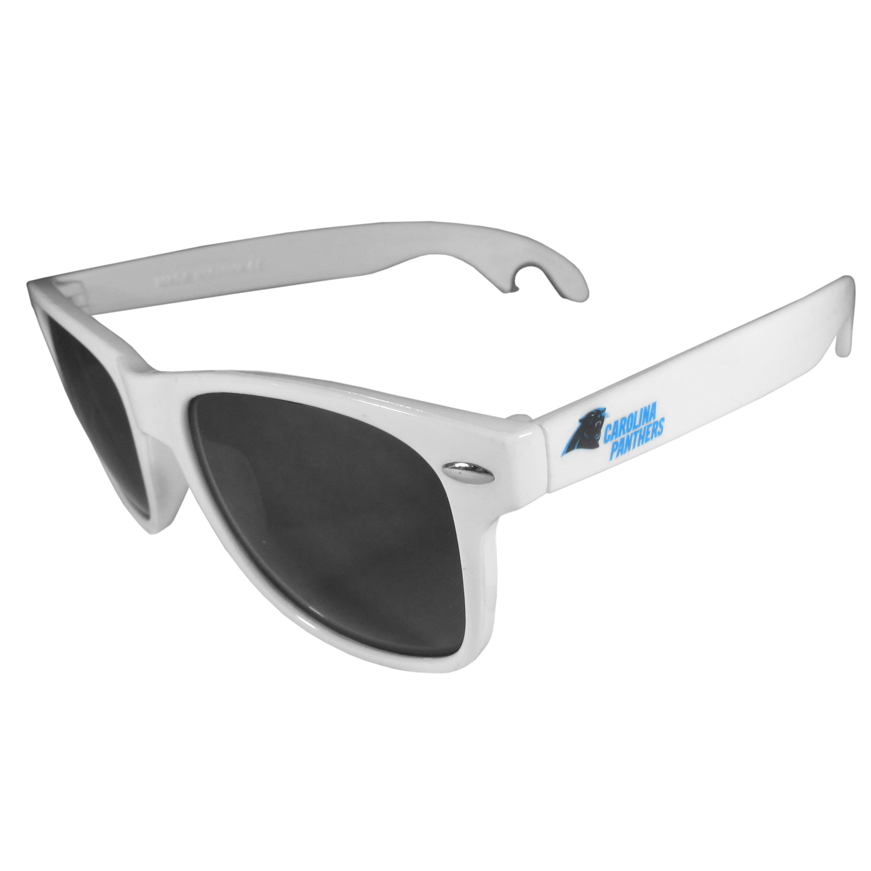 Carolina Panthers Beachfarer Bottle Opener Sunglasses, White - Seriously, these sunglasses open bottles! Keep the party going with these amazing Carolina Panthers bottle opener sunglasses. The stylish retro frames feature team designs on the arms and functional bottle openers on the end of the arms. Whether you are at the beach or having a backyard BBQ on game day, these shades will keep your eyes protected with 100% UVA/UVB protection and keep you hydrated with the handy bottle opener arms.