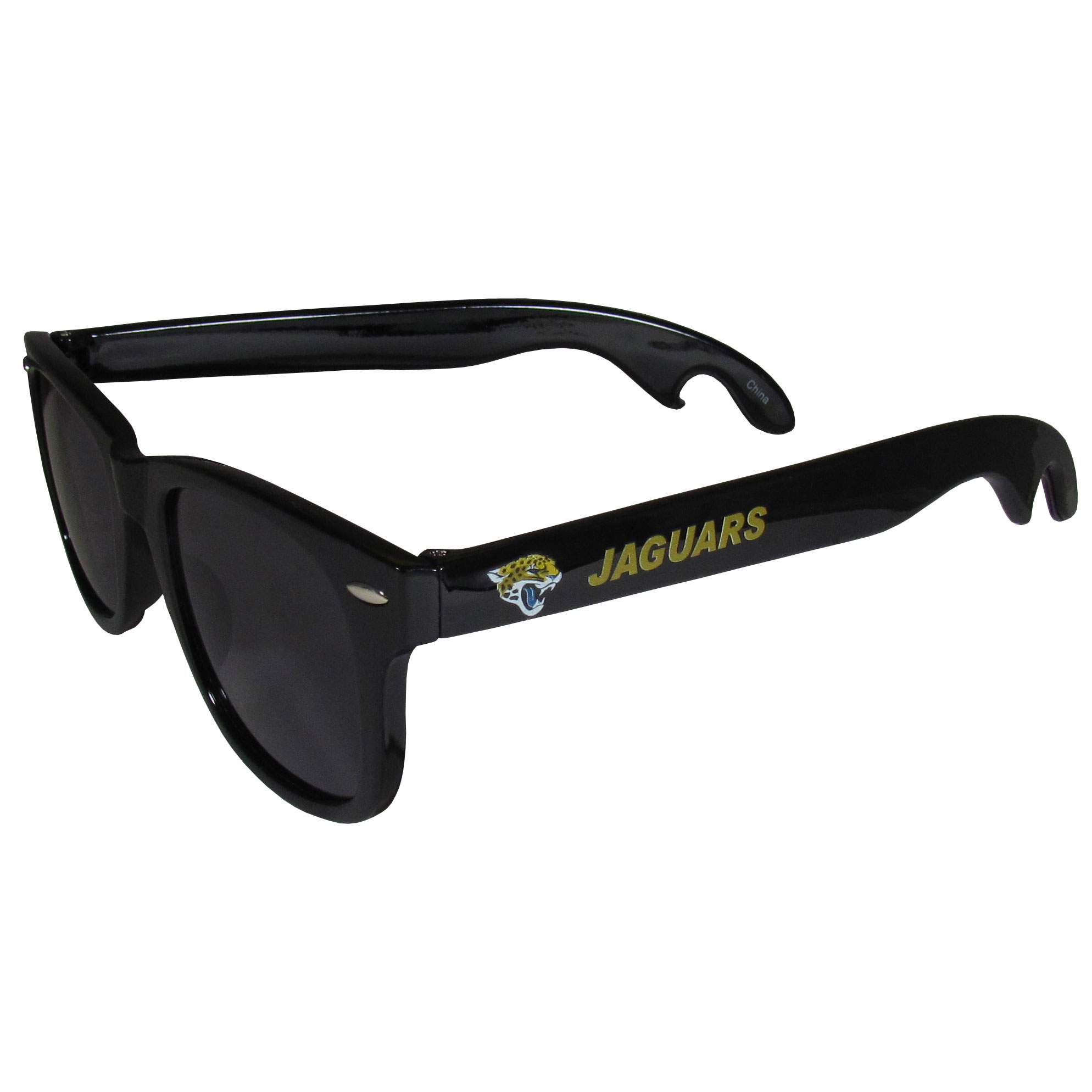 Jacksonville Jaguars Beachfarer Bottle Opener Sunglasses - Seriously, these sunglasses open bottles! Keep the party going with these amazing Jacksonville Jaguars bottle opener sunglasses. The stylish retro frames feature team designs on the arms and functional bottle openers on the end of the arms. Whether you are at the beach or having a backyard BBQ on game day, these shades will keep your eyes protected with 100% UVA/UVB protection and keep you hydrated with the handy bottle opener arms.