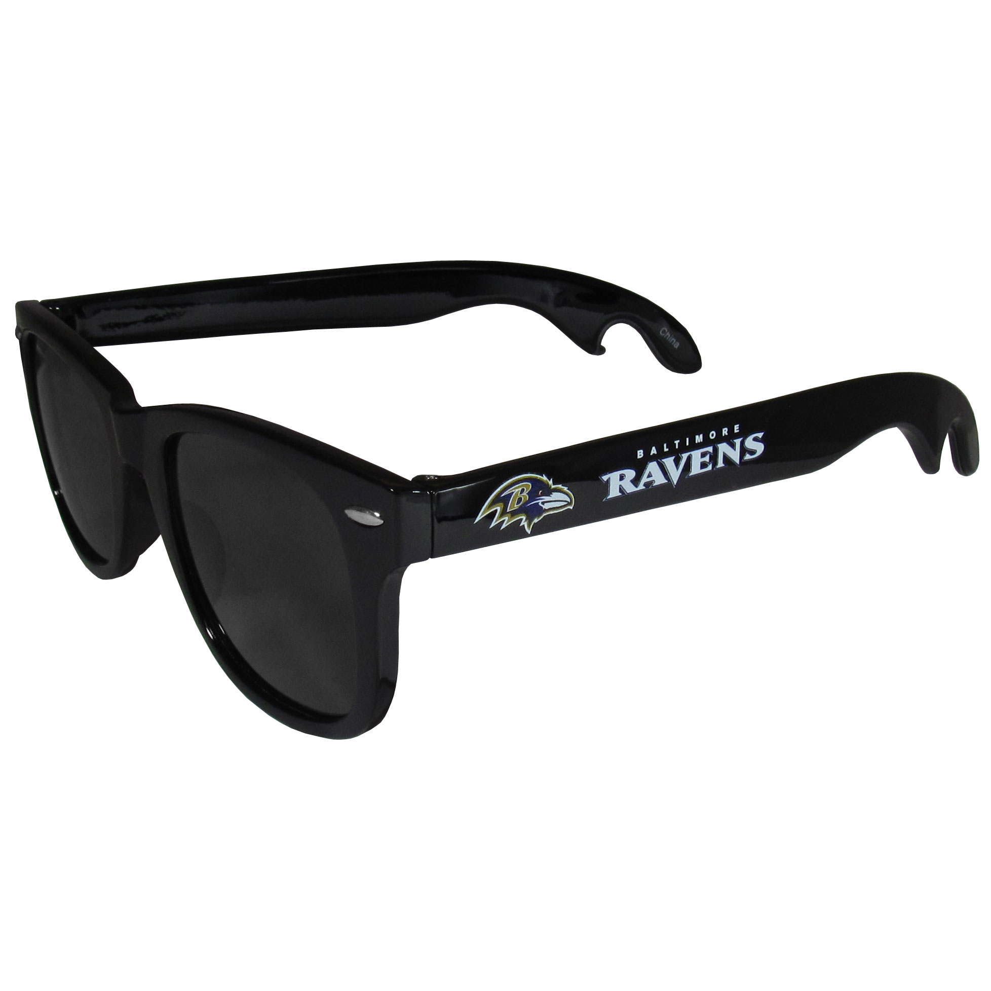 Baltimore Ravens Beachfarer Bottle Opener Sunglasses - Seriously, these sunglasses open bottles! Keep the party going with these amazing Baltimore Ravens bottle opener sunglasses. The stylish retro frames feature team designs on the arms and functional bottle openers on the end of the arms. Whether you are at the beach or having a backyard BBQ on game day, these shades will keep your eyes protected with 100% UVA/UVB protection and keep you hydrated with the handy bottle opener arms.