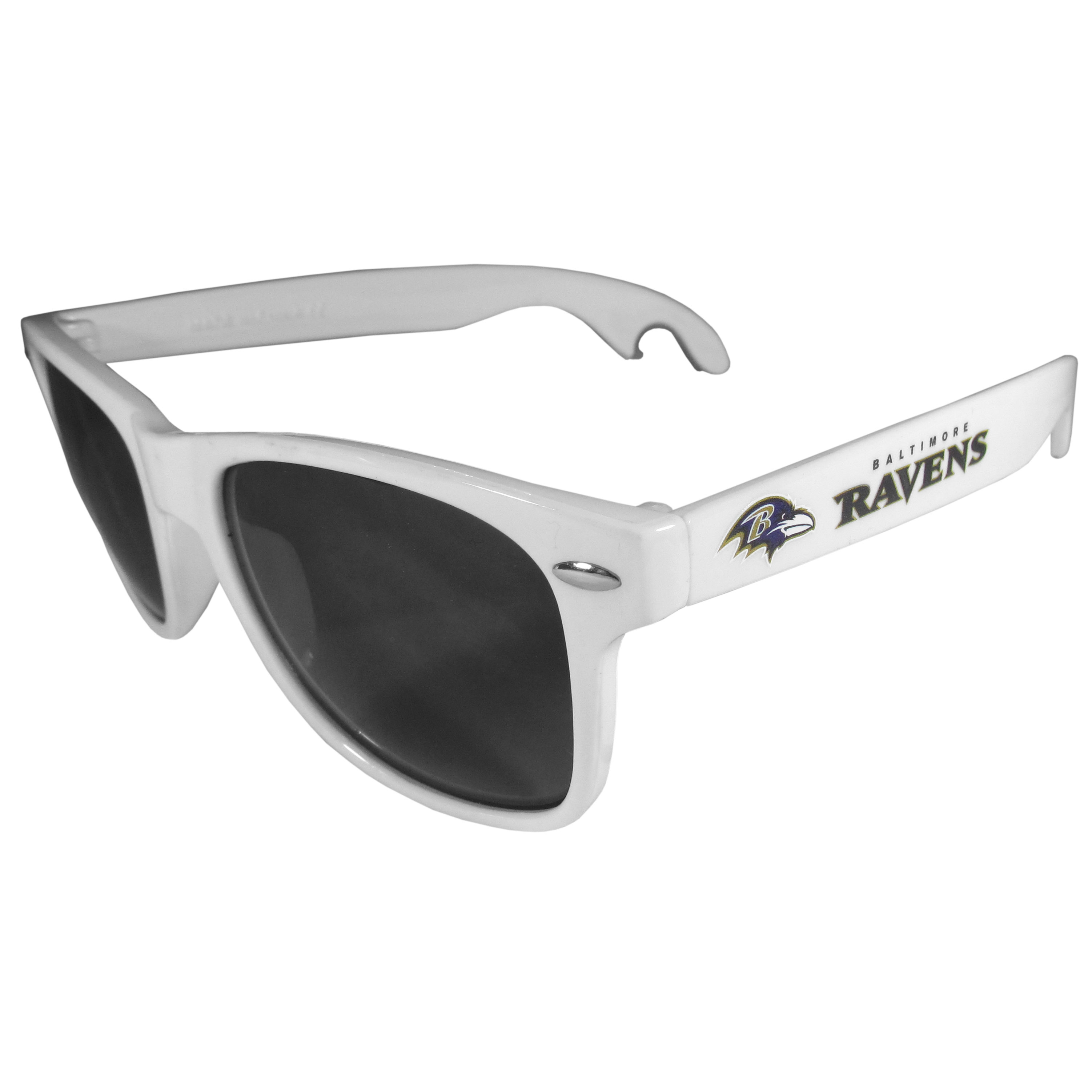 Baltimore Ravens Beachfarer Bottle Opener Sunglasses, White - Seriously, these sunglasses open bottles! Keep the party going with these amazing Baltimore Ravens bottle opener sunglasses. The stylish retro frames feature team designs on the arms and functional bottle openers on the end of the arms. Whether you are at the beach or having a backyard BBQ on game day, these shades will keep your eyes protected with 100% UVA/UVB protection and keep you hydrated with the handy bottle opener arms.