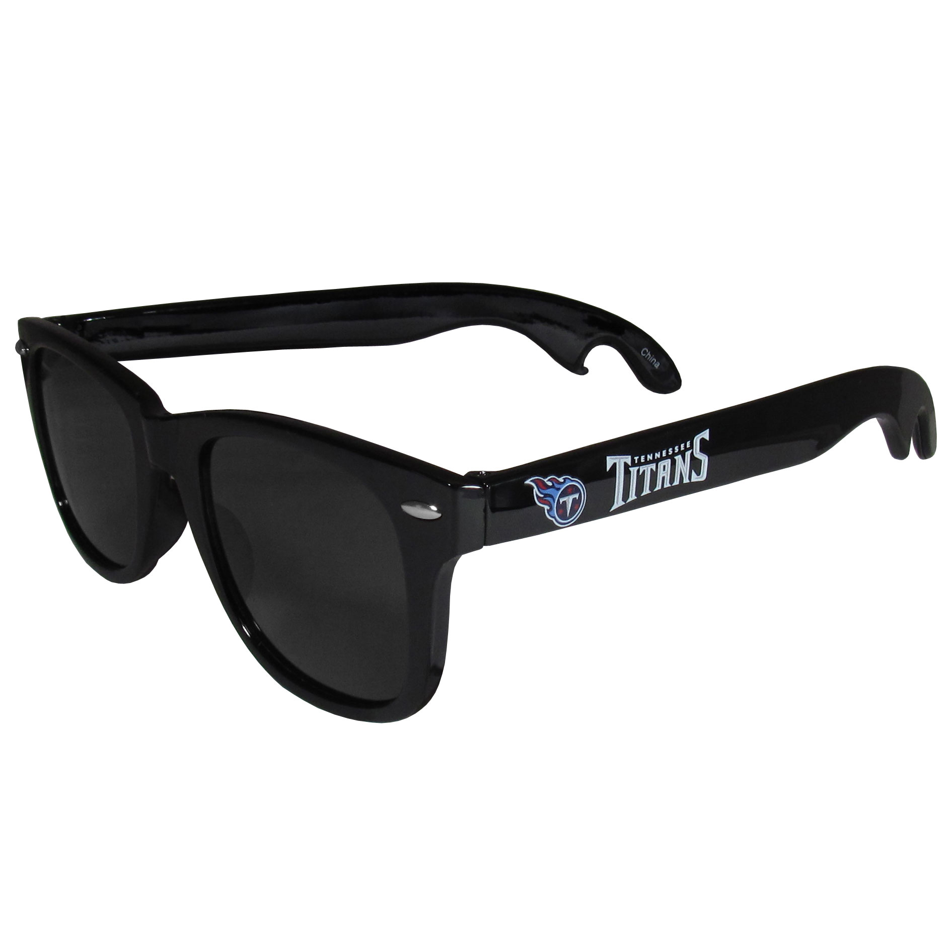 Tennessee Titans Beachfarer Bottle Opener Sunglasses - Seriously, these sunglasses open bottles! Keep the party going with these amazing Tennessee Titans bottle opener sunglasses. The stylish retro frames feature team designs on the arms and functional bottle openers on the end of the arms. Whether you are at the beach or having a backyard BBQ on game day, these shades will keep your eyes protected with 100% UVA/UVB protection and keep you hydrated with the handy bottle opener arms.