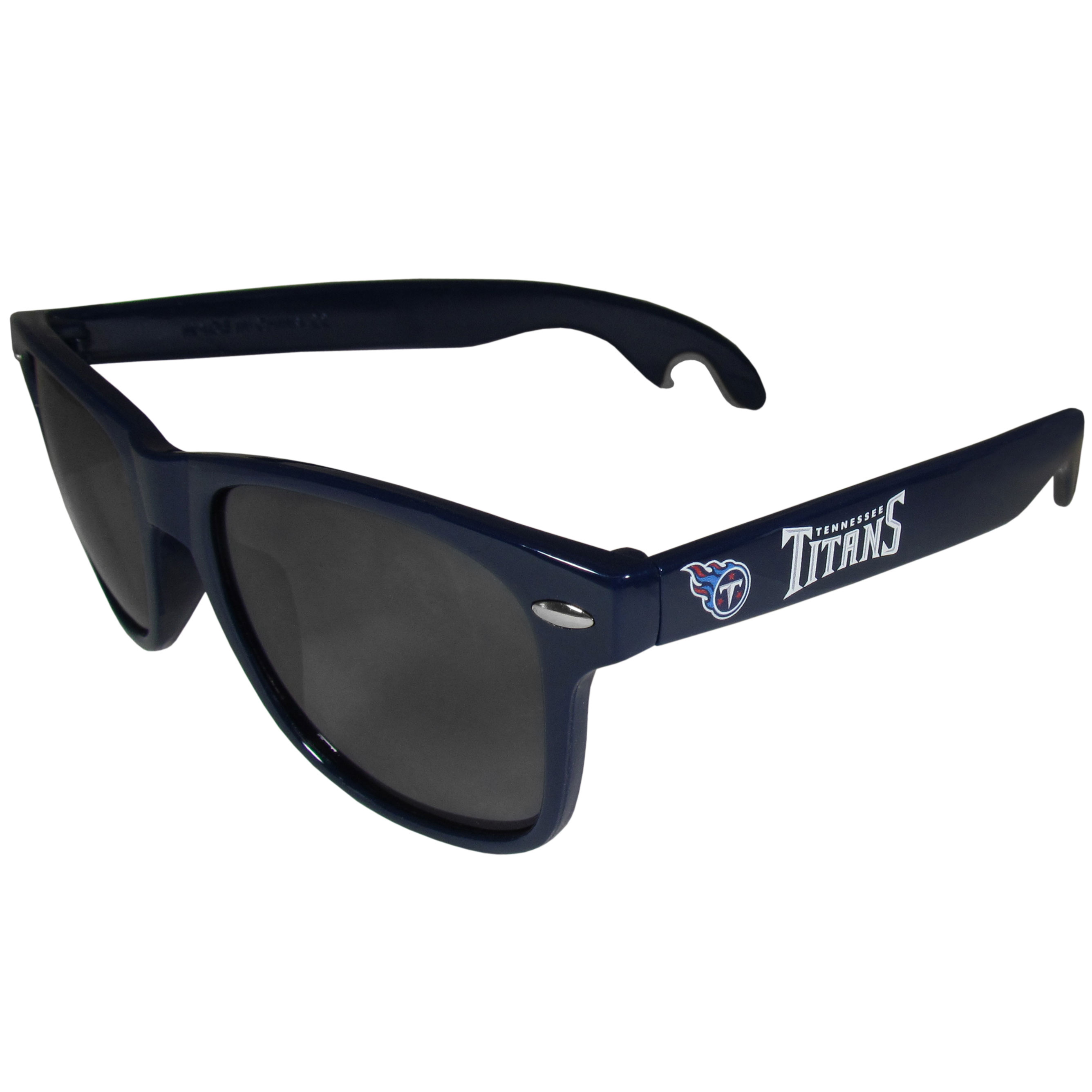 Tennessee Titans Beachfarer Bottle Opener Sunglasses, Dark Blue - Seriously, these sunglasses open bottles! Keep the party going with these amazing Tennessee Titans bottle opener sunglasses. The stylish retro frames feature team designs on the arms and functional bottle openers on the end of the arms. Whether you are at the beach or having a backyard BBQ on game day, these shades will keep your eyes protected with 100% UVA/UVB protection and keep you hydrated with the handy bottle opener arms.