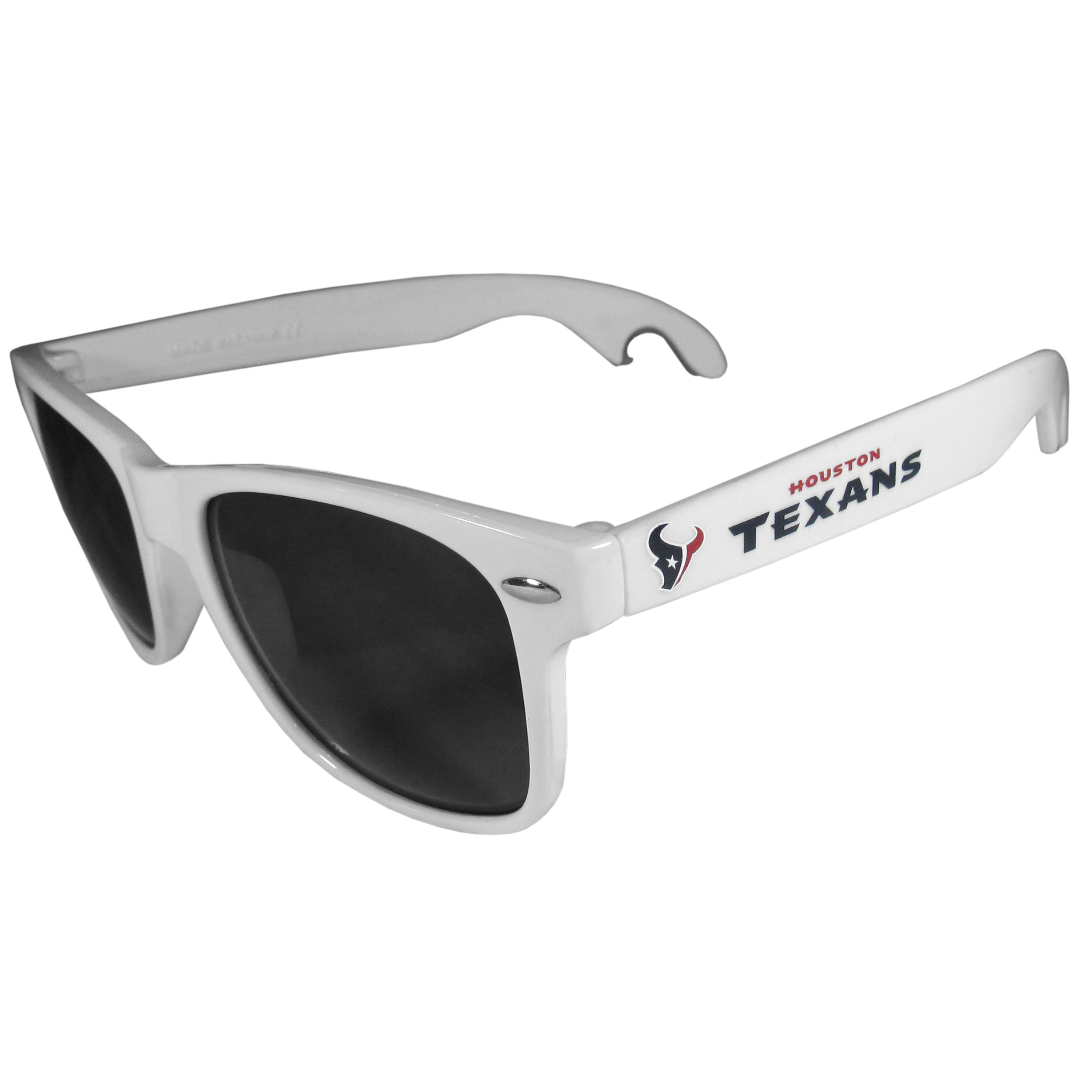 Houston Texans Beachfarer Bottle Opener Sunglasses, White - Seriously, these sunglasses open bottles! Keep the party going with these amazing Houston Texans bottle opener sunglasses. The stylish retro frames feature team designs on the arms and functional bottle openers on the end of the arms. Whether you are at the beach or having a backyard BBQ on game day, these shades will keep your eyes protected with 100% UVA/UVB protection and keep you hydrated with the handy bottle opener arms.
