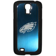 Philadelphia Eagles Etched Samsung Galaxy S4 Case - This ultra cool hard shell snap on case provides great protection for the phone while the soft rubber finish adds to your grip to help prevent dropping the phone. This stylish case is finished off with a brushed metal team plate with laser etched Philadelphia Eagles team logo. Officially licensed NFL product Licensee: Siskiyou Buckle .com