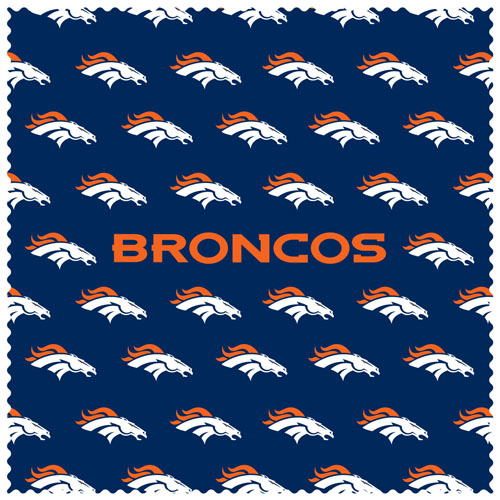 "Denver Broncos Sunglass Microfiber Cleaning Cloth - Our NFL Denver Broncos sunglass cleaning cloth is a 6.75"" square microfiber cloth that is perfect for keeping your sunglass free of dirt, oil, residue and smudges. The set includes 2 clothes with Denver Broncos logo pattern.  Officially licensed NFL product Licensee: Siskiyou Buckle Thank you for visiting CrazedOutSports.com"