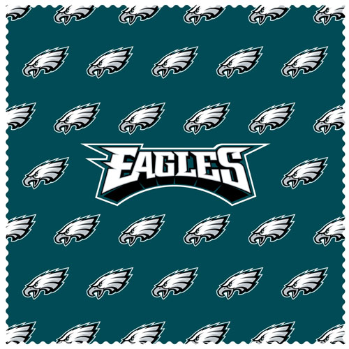 "Philadelphia Eagles Sunglass Microfiber Cleaning Cloth - Our NFL Philadelphia Eagles sunglass cleaning cloth is a 6.75"" square microfiber cloth that is perfect for keeping your sunglass free of dirt, oil, residue and smudges. The set includes 2 clothes with Philadelphia Eagles logo pattern.  Officially licensed NFL product Licensee: Siskiyou Buckle .com"