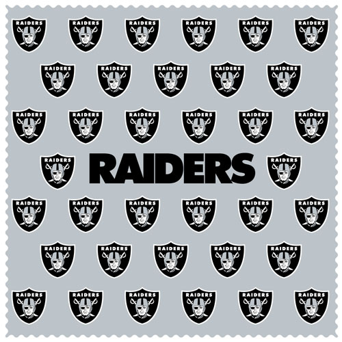"Oakland Raiders Sunglass Microfiber Cleaning Cloth - Our NFL Oakland Raiders sunglass cleaning cloth is a 6.75"" square microfiber cloth that is perfect for keeping your sunglass free of dirt, oil, residue and smudges. The set includes 2 clothes with Oakland Raiders logo pattern.  Officially licensed NFL product Licensee: Siskiyou Buckle Thank you for visiting CrazedOutSports.com"