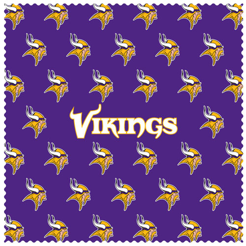 "Minnesota Vikings Sunglass Microfiber Cleaning Cloth - Our NFL Minnesota Vikings sunglass cleaning cloth is a 6.75"" square microfiber cloth that is perfect for keeping your sunglass free of dirt, oil, residue and smudges. The set includes 2 clothes with Minnesota Vikings logo pattern.  Officially licensed NFL product Licensee: Siskiyou Buckle .com"