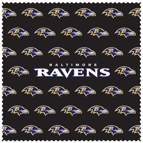 "Baltimore Ravens Sunglass Microfiber Cleaning Cloth - Our NFL Baltimore Ravens sunglass cleaning cloth is a 6.75"" square microfiber cloth that is perfect for keeping your sunglass free of dirt, oil, residue and smudges. The set includes 2 clothes with Baltimore Ravens logo pattern.  Officially licensed NFL product Licensee: Siskiyou Buckle .com"