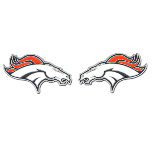 Studded NFL Earrings - Denver Broncos - Our studded NFL team logo earrings are carved in 3D detail and enameled in team colors. Check out our entire line of licensed NFL  earrings! Officially licensed NFL product Licensee: Siskiyou Buckle Thank you for visiting CrazedOutSports.com