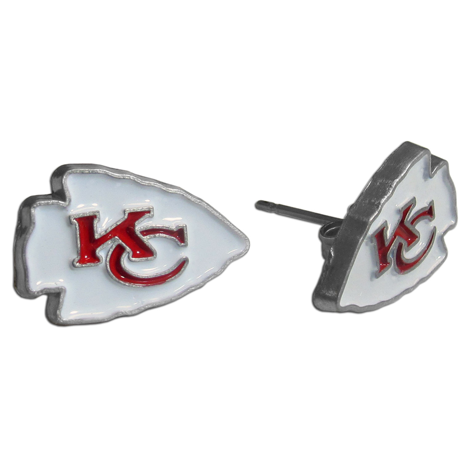 Studded NFL Earrings - Kansas City Chiefs - Our studded NFL team logo earrings are carved in 3D detail and enameled in team colors. Check out our entire line of licensed NFL  earrings! Officially licensed NFL product Licensee: Siskiyou Buckle Thank you for visiting CrazedOutSports.com