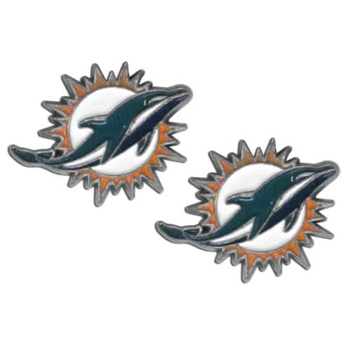 Studded NFL Earrings - Miami Dolphins - Our studded NFL team logo earrings are carved in 3D detail and enameled in team colors. Check out our entire line of licensed NFL  earrings! Officially licensed NFL product Licensee: Siskiyou Buckle .com