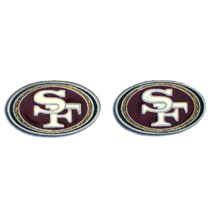 Studded NFL Earrings - San Francisco 49ers - Our studded NFL team logo earrings are carved in 3D detail and enameled in team colors. Check out our entire line of licensed NFL  earrings! Officially licensed NFL product Licensee: Siskiyou Buckle .com