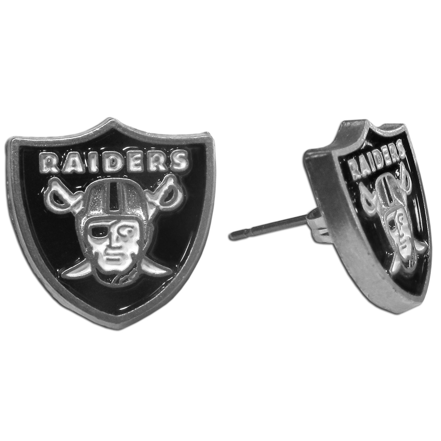 Studded NFL Earrings - Oakland Raiders - Our studded NFL team logo earrings are carved in 3D detail and enameled in team colors. Check out our entire line of licensed NFL  earrings! Officially licensed NFL product Licensee: Siskiyou Buckle Thank you for visiting CrazedOutSports.com